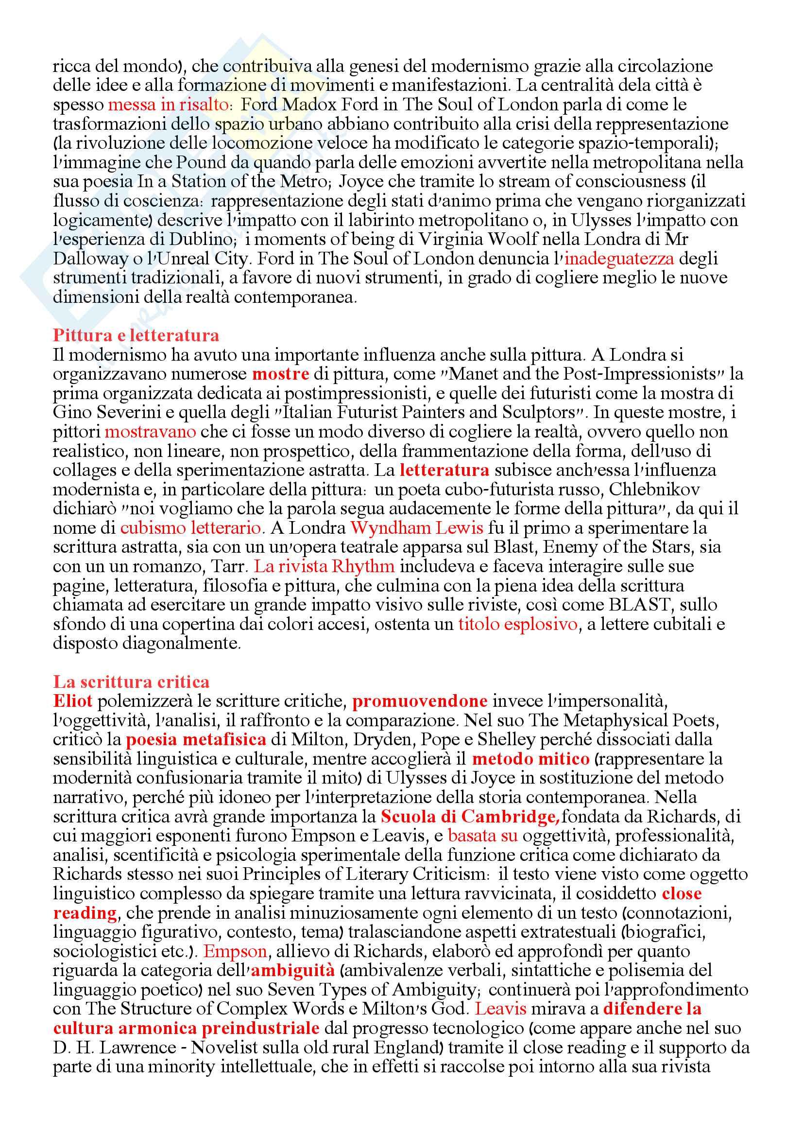 Riassunto personale derivato dallo studio integrato di tutti i capitoli, autori e opere del Bertinetti volume II e relativi approfondimenti personali Pag. 26