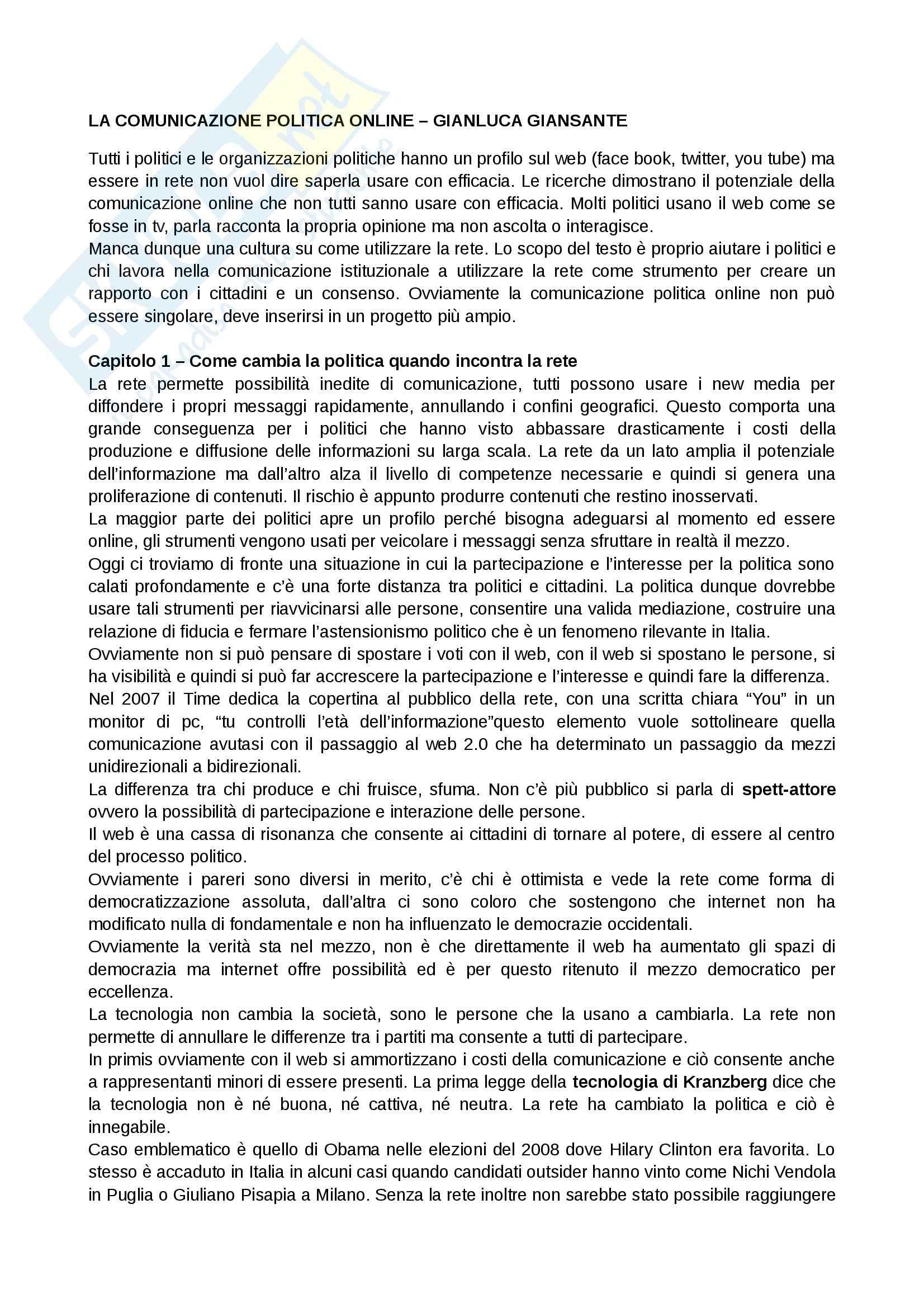Riassunto esame Comunicazione Politica, prof. Bentivenga, libro consigliato Il giornalista radiofonico, Giansante