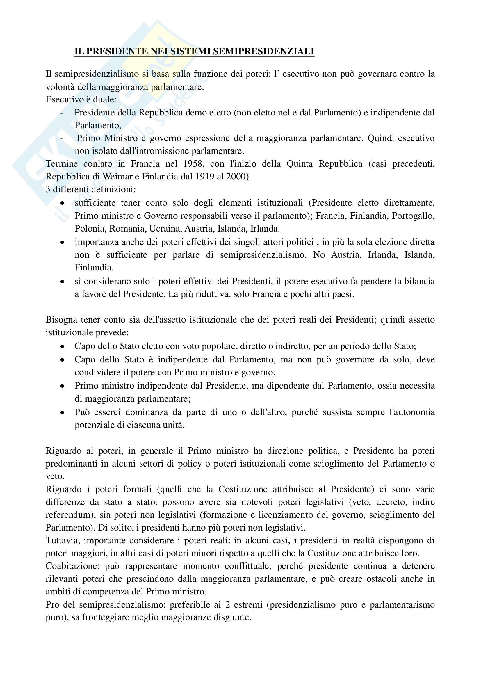 Riassunto esame Scienza Politica, prof. Riccamboni, libro consigliato I Presidenti nelle Forme di Governo di Grimaldi Pag. 6