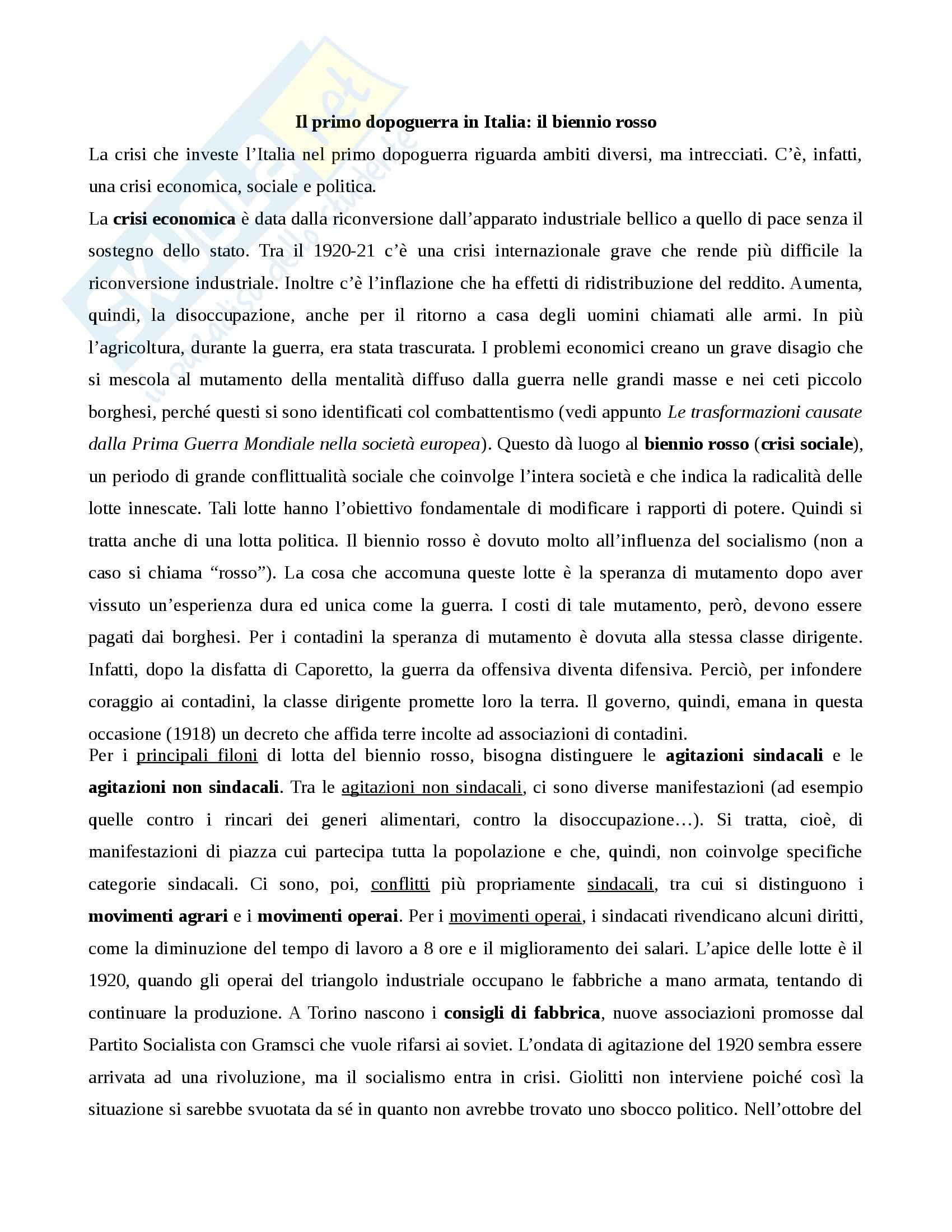 Storia contemporanea - il primo dopoguerra in Italia e il biennio rosso