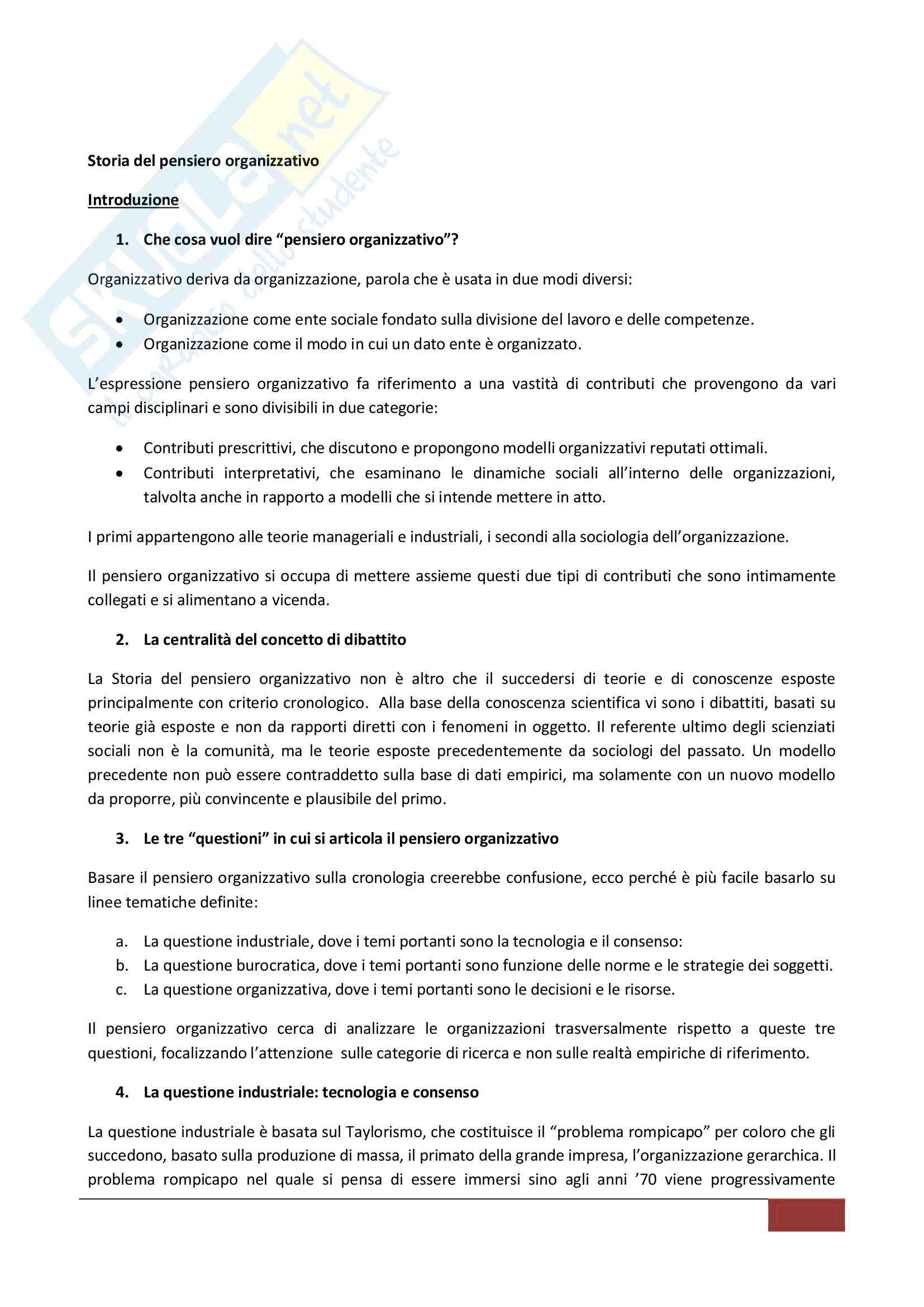 Riassunto esame Sociologia dell'Organizzazione, prof. Zurru, libro consigliato Storia del Pensiero Organizzativo, Bonazzi