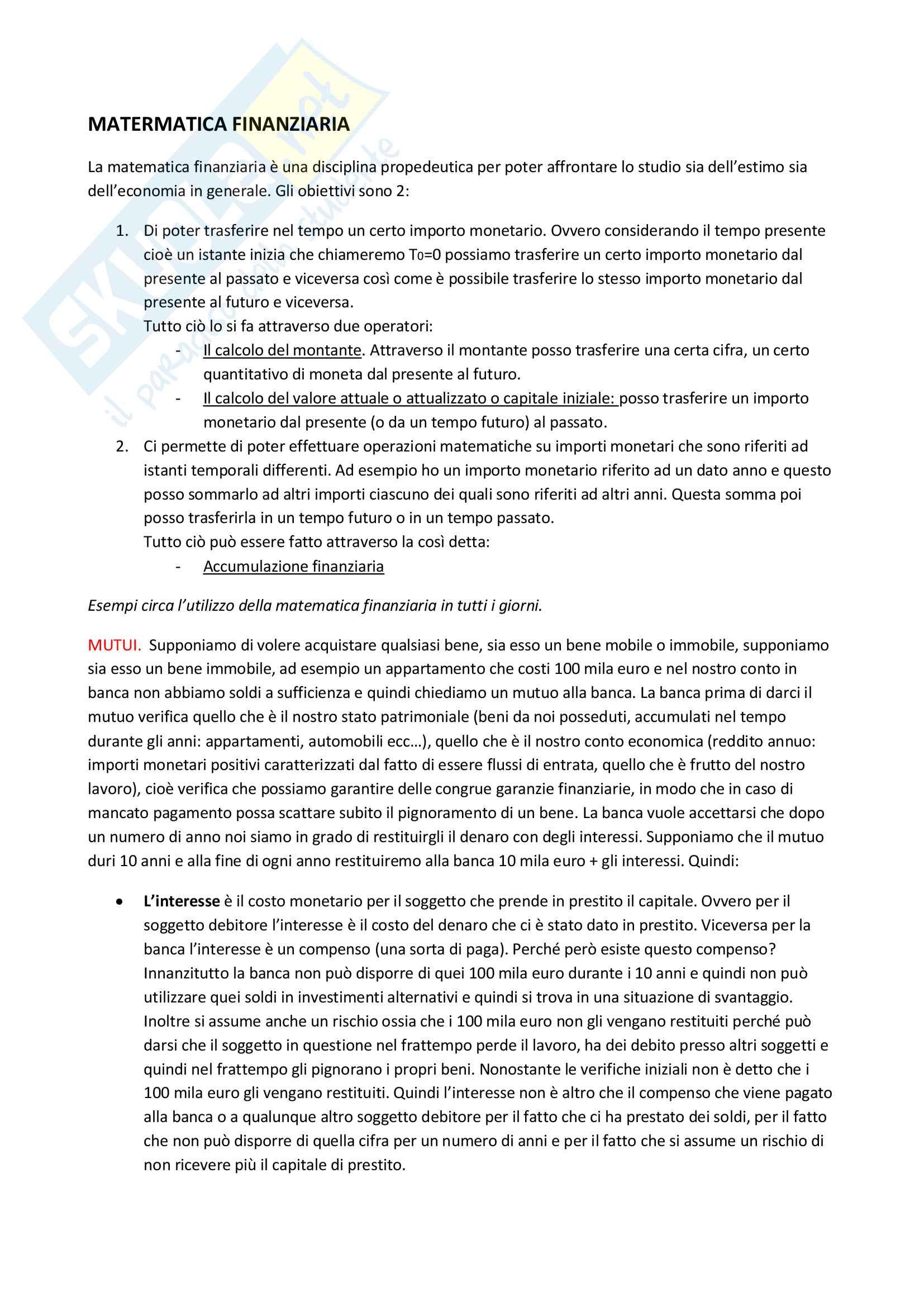 Matematica finanziaria, Bilancio Aziendale, Economia ed Estimo