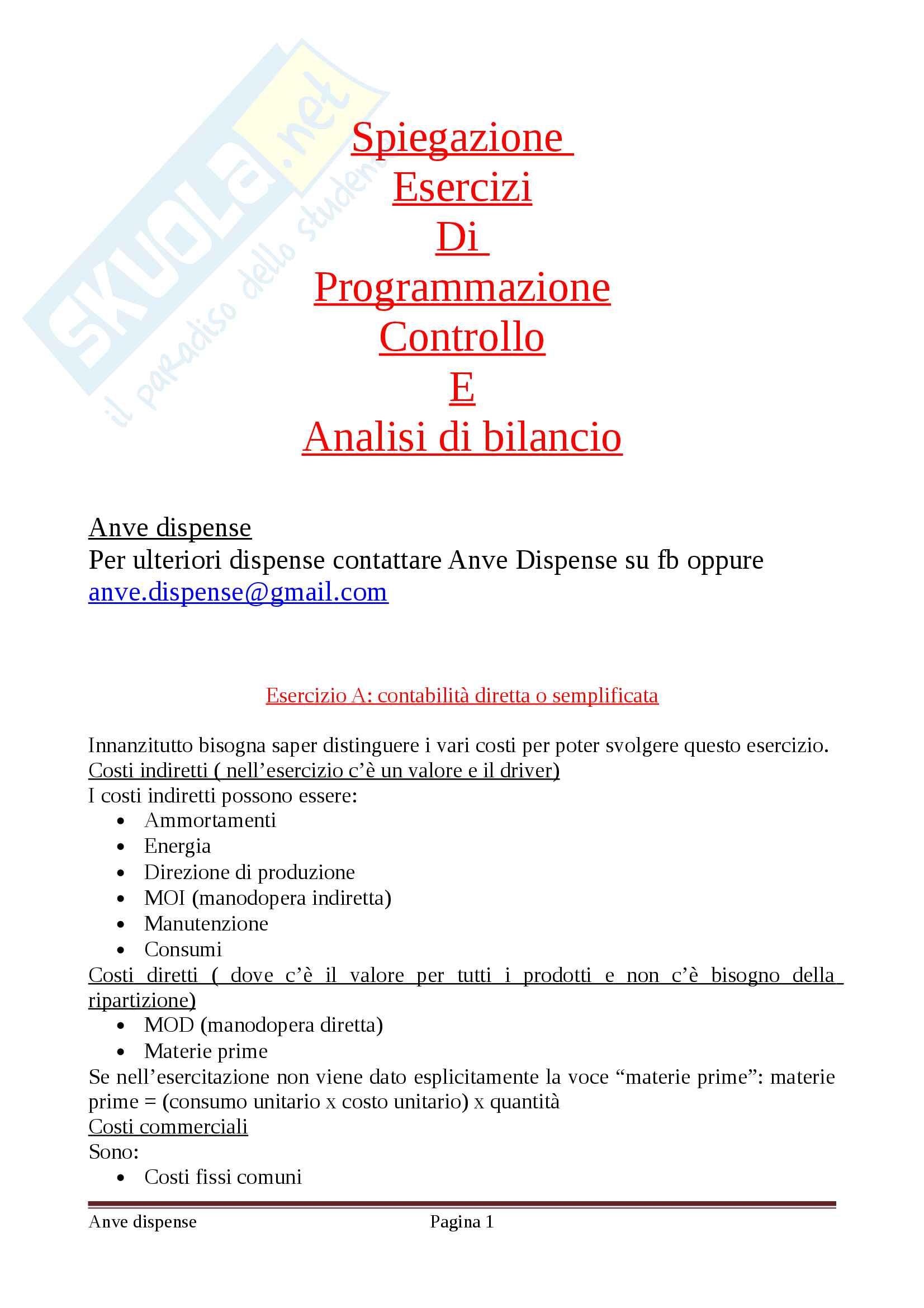 Esercizi programmazione, controllo e analisi di bilancio
