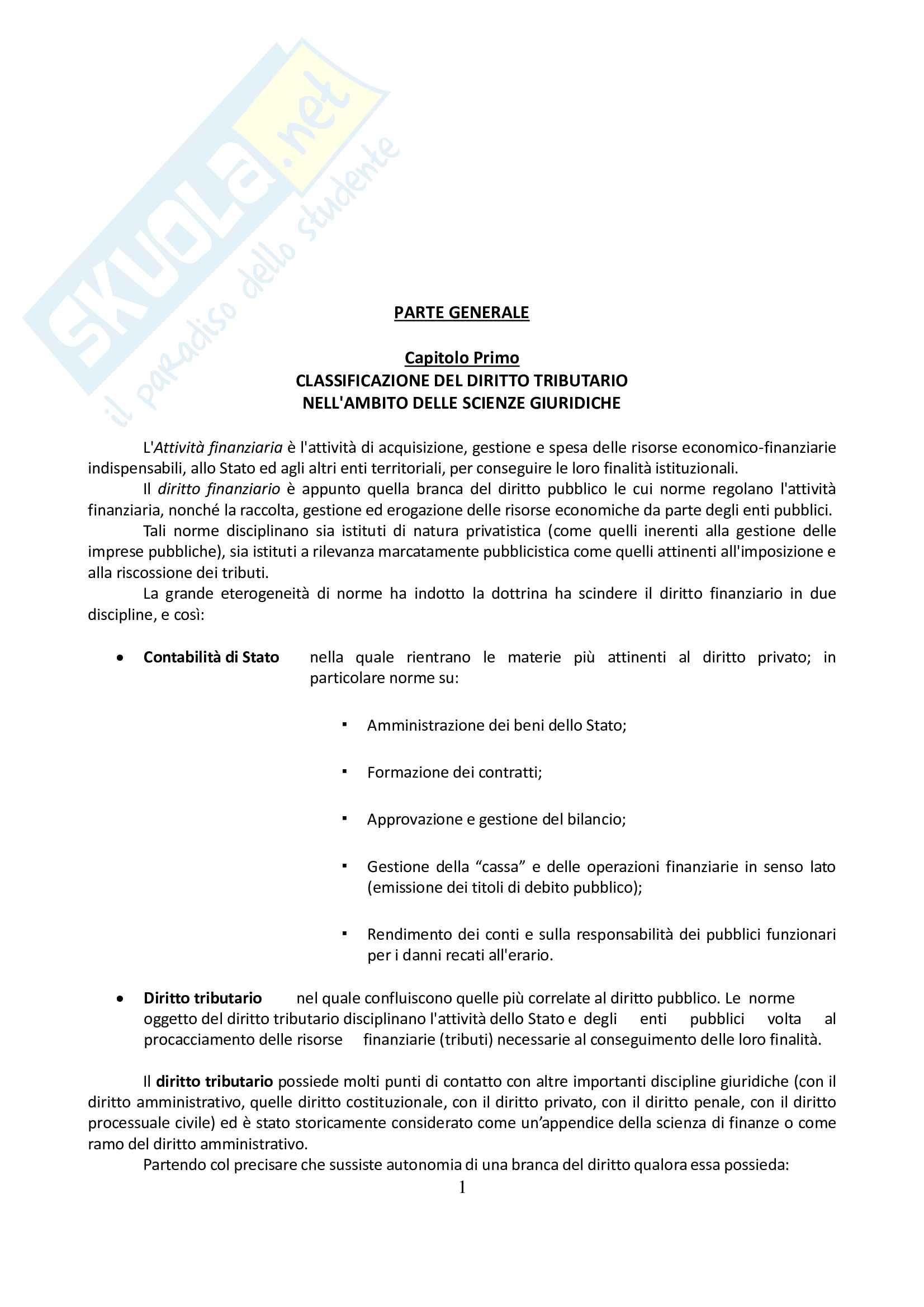 Riassunto esame Diritto Tributario, prof. Falsitta, libro consigliato Corso Istituzionale di Diritto Tributario - 4a Edizione Riveduta (2012)