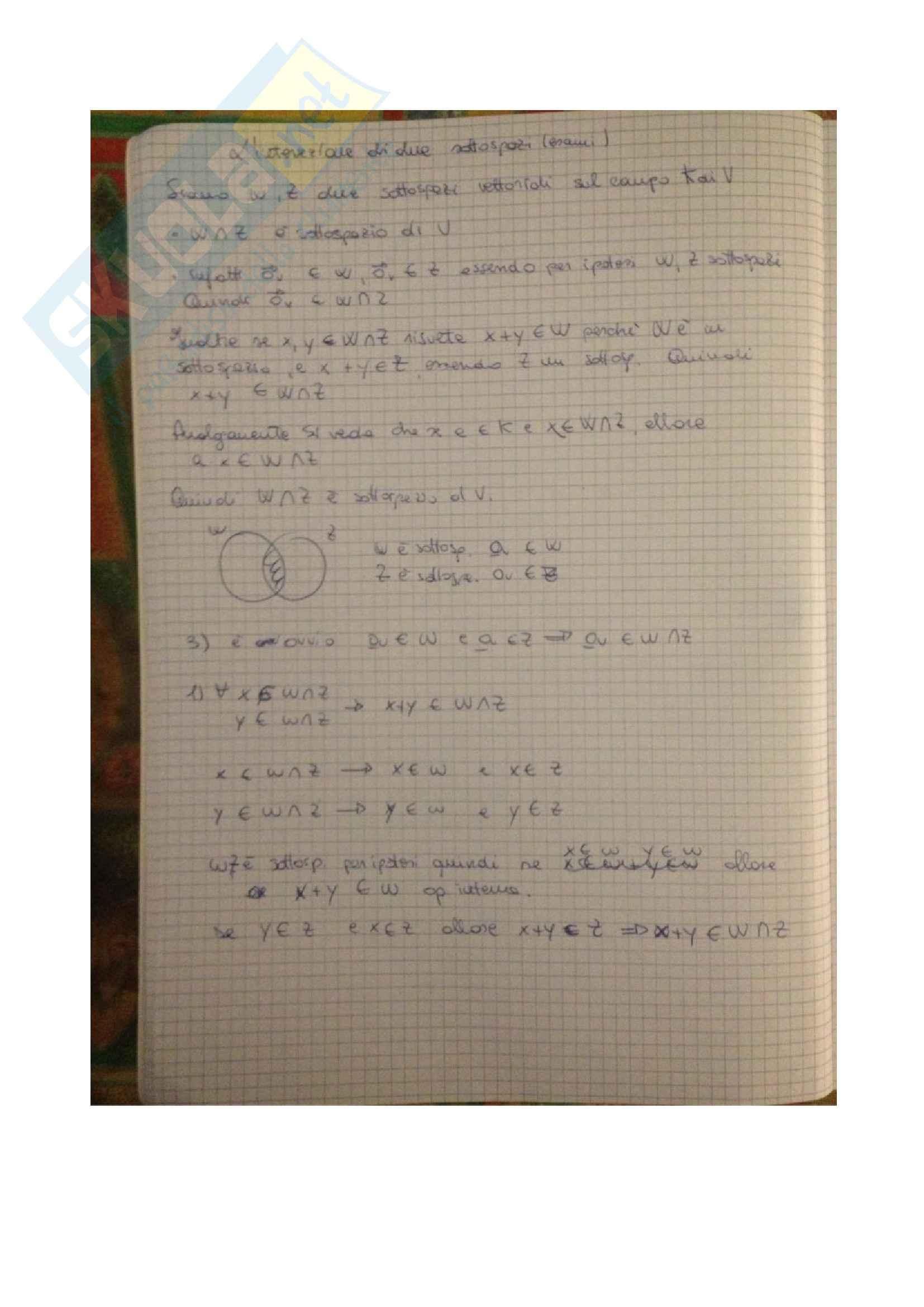 Algeba e geometria lineare - i sottospazi vettoriali