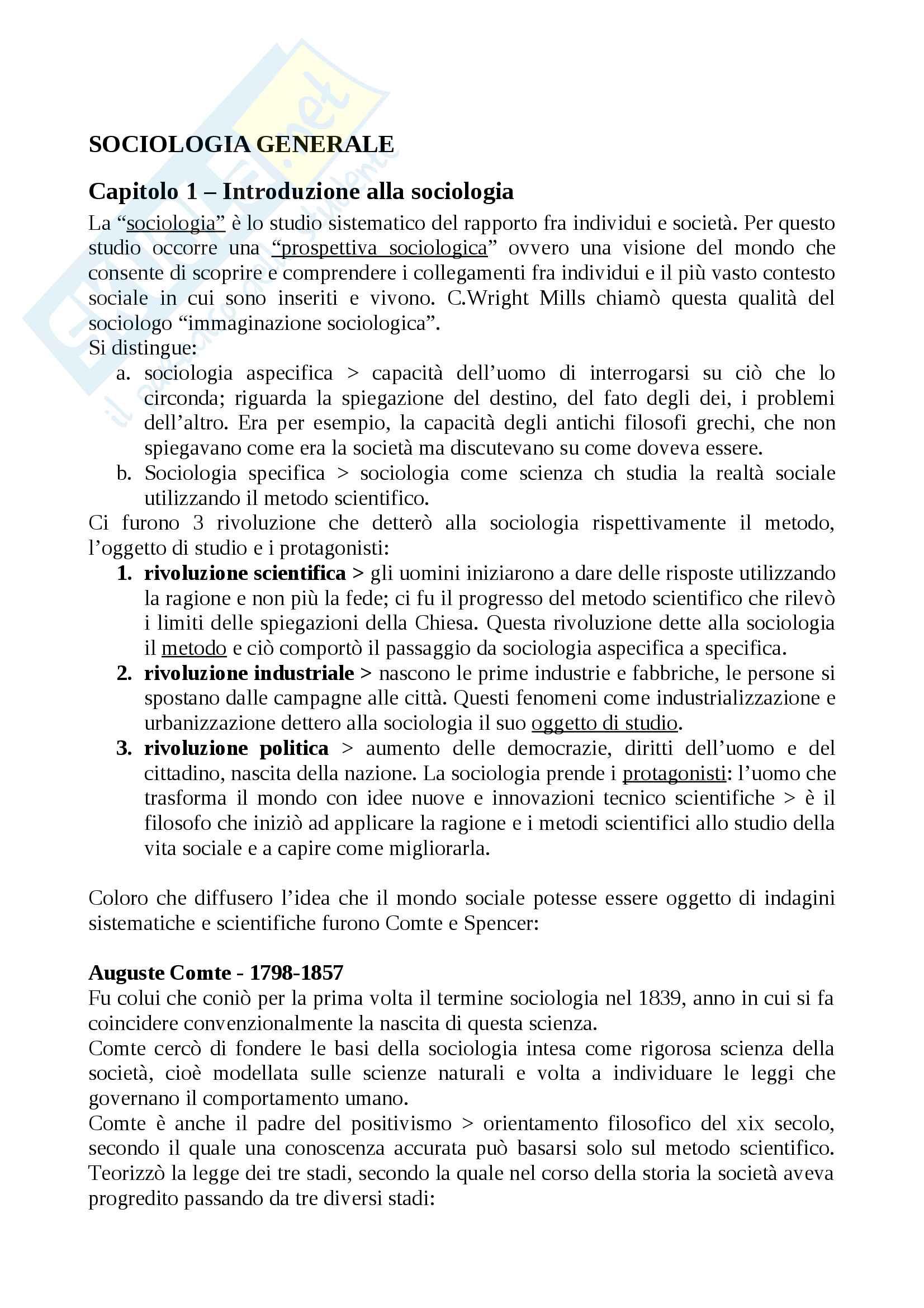 """Riassunto esame Sociologia generale, prof. Borghini, libro consigliato """"Sociologia generale"""", Croteau"""