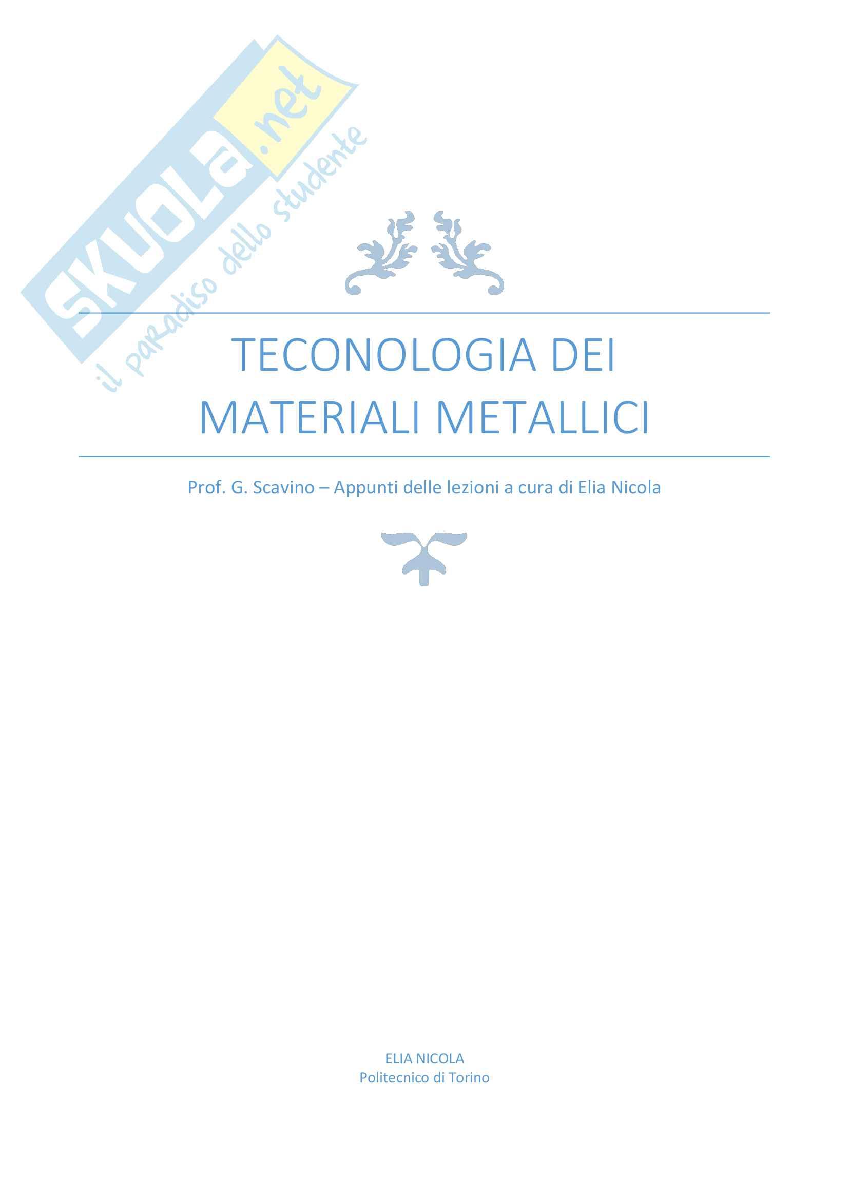 Tecnologia dei materiali metallici (Prof. Giorgio Scavino) PoliTo