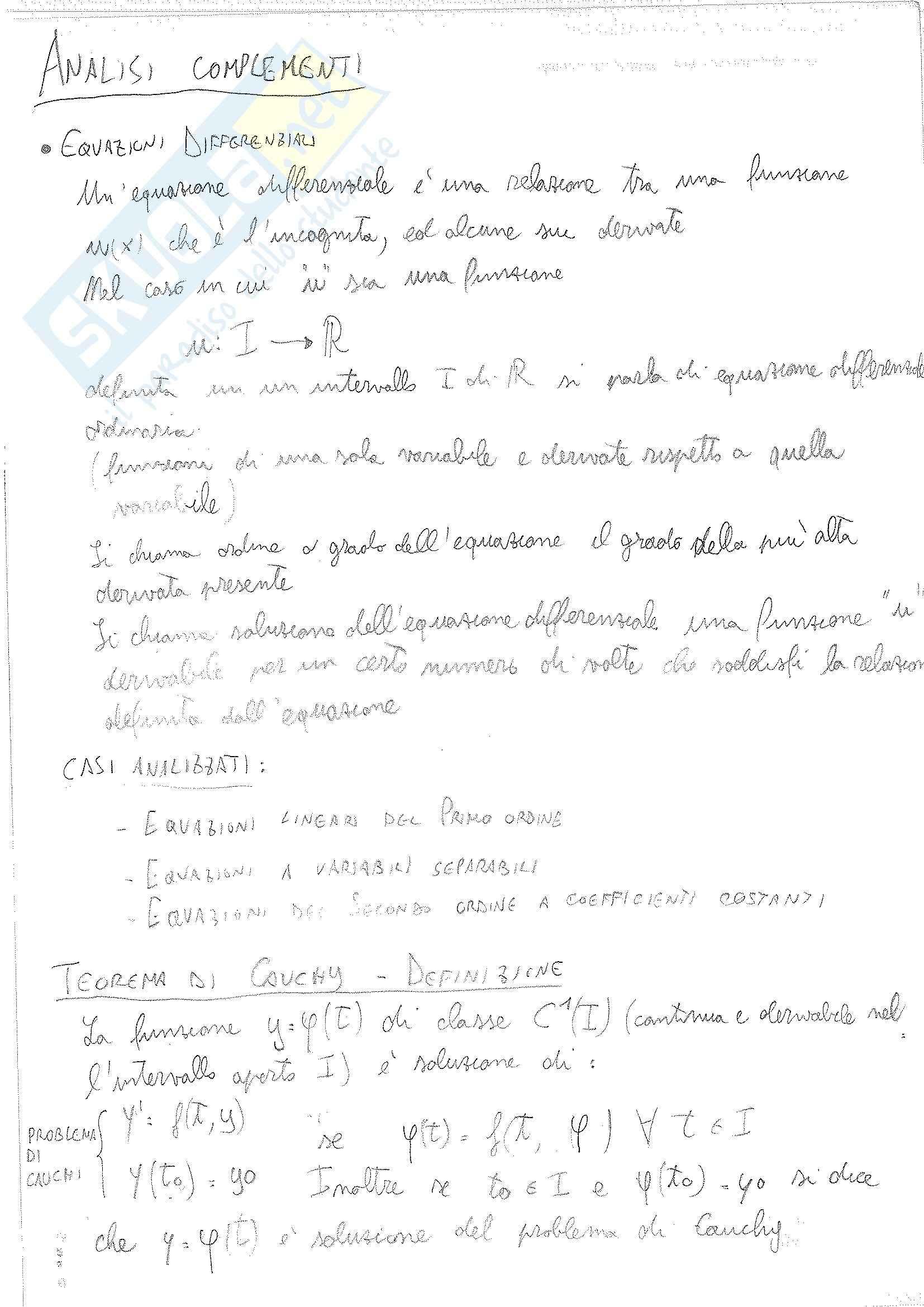 Analisi matematica - Complementi