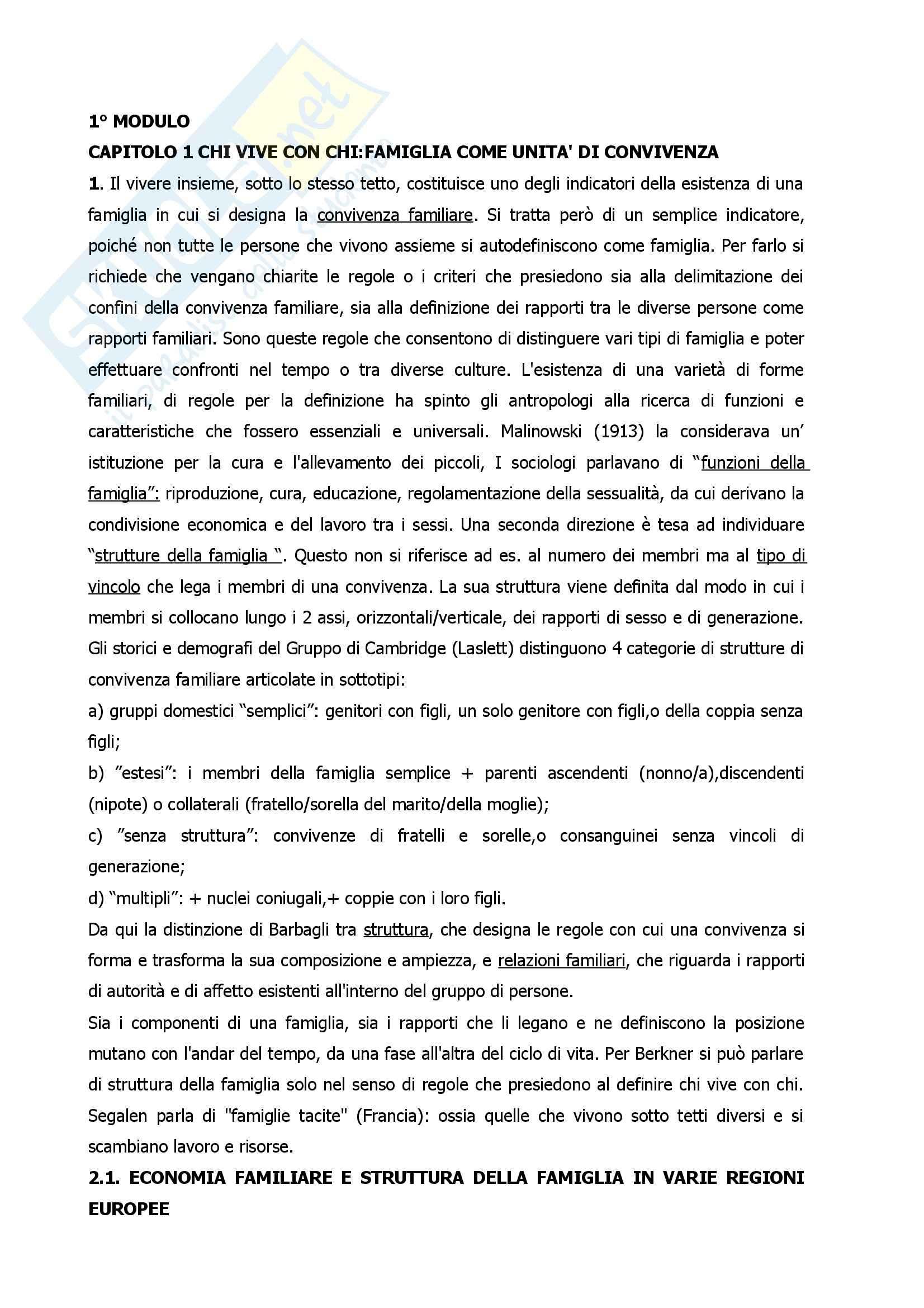 Riassunto esame Sociologia della Famiglia, prof. Albertini, libro consigliato Sociologia della Famiglia, Saraceno