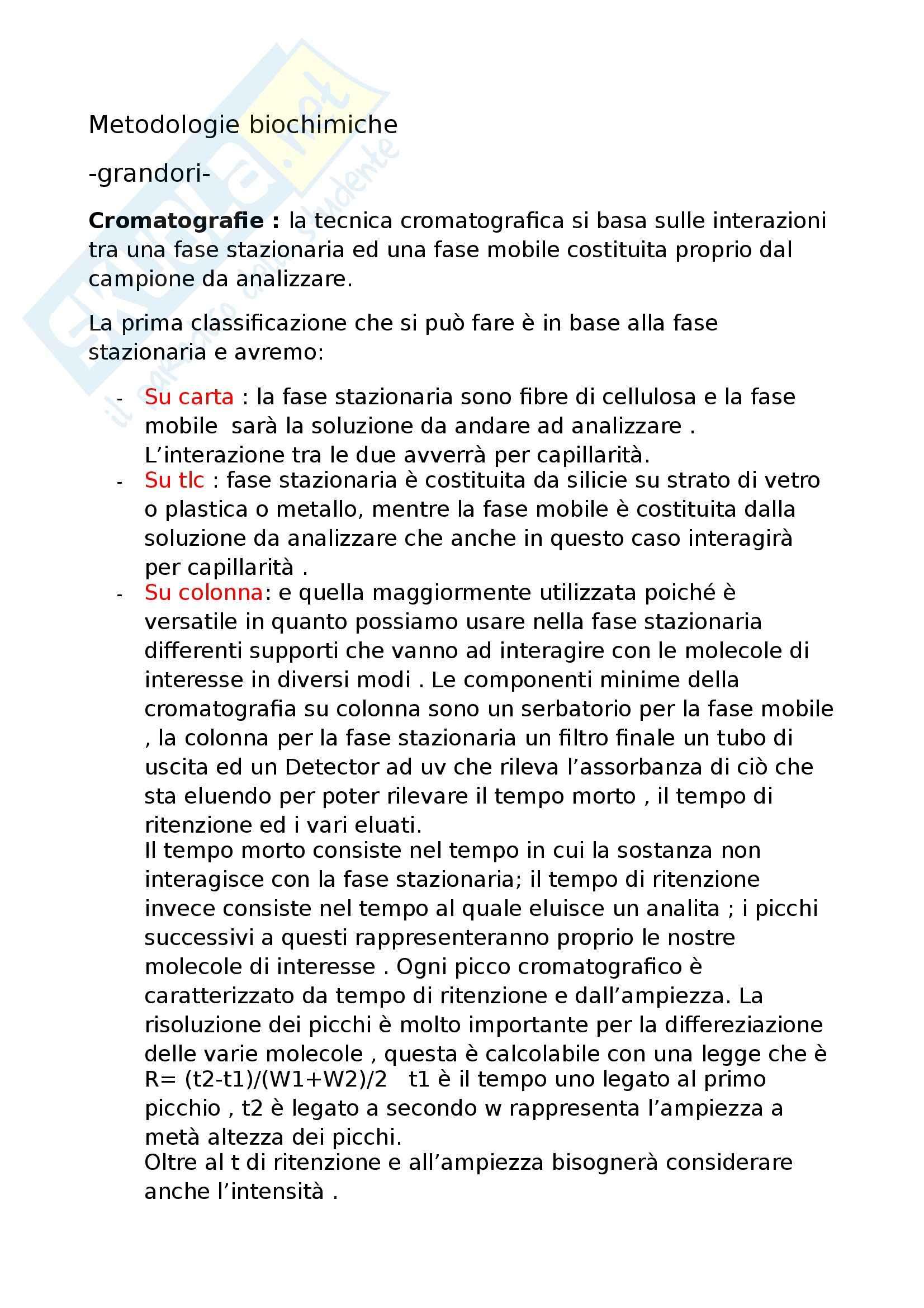 Metodologie biochimiche - Appunti