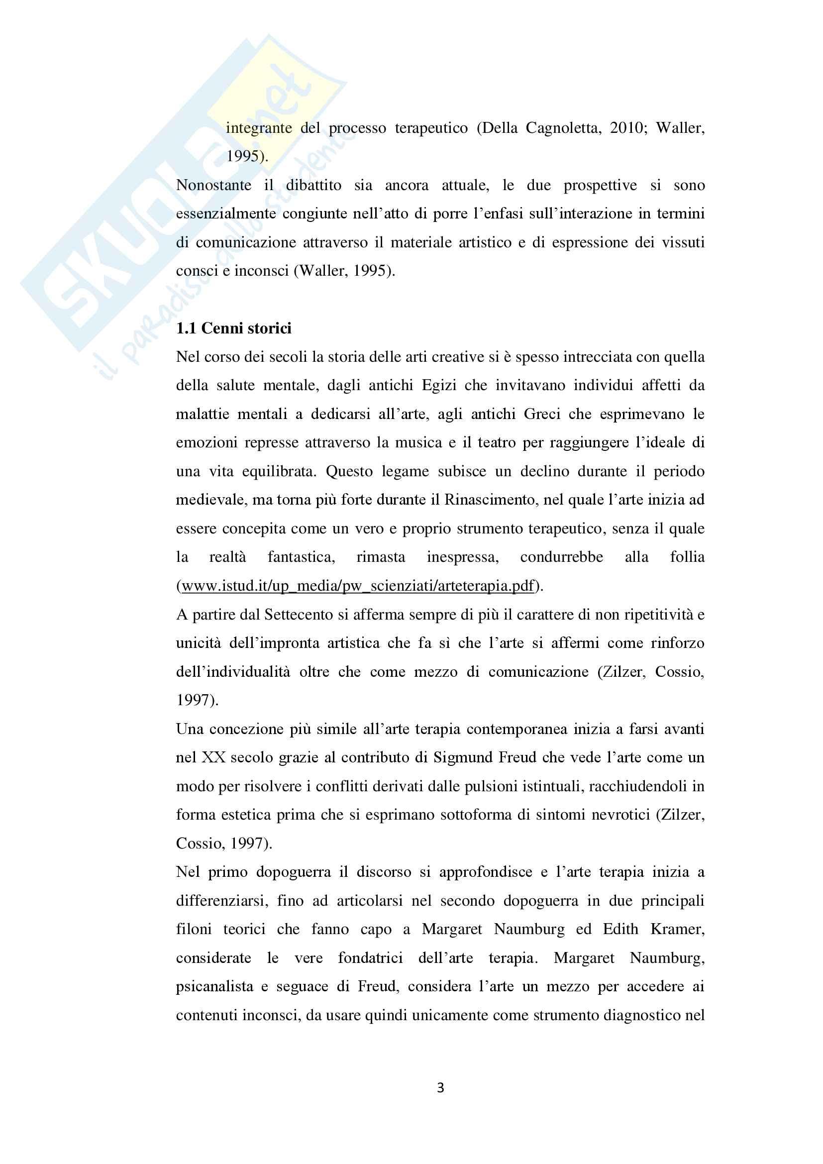Tesi sull'arteterapia e le sue applicazioni in ambito scolastico Pag. 6