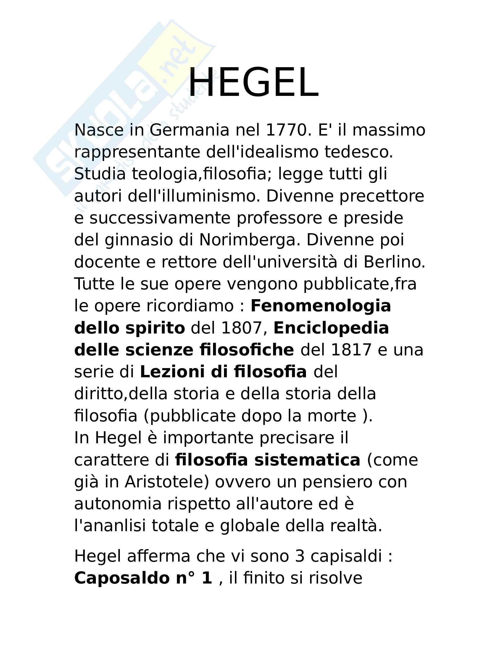 Hegel, breve trattazione con dottrina base