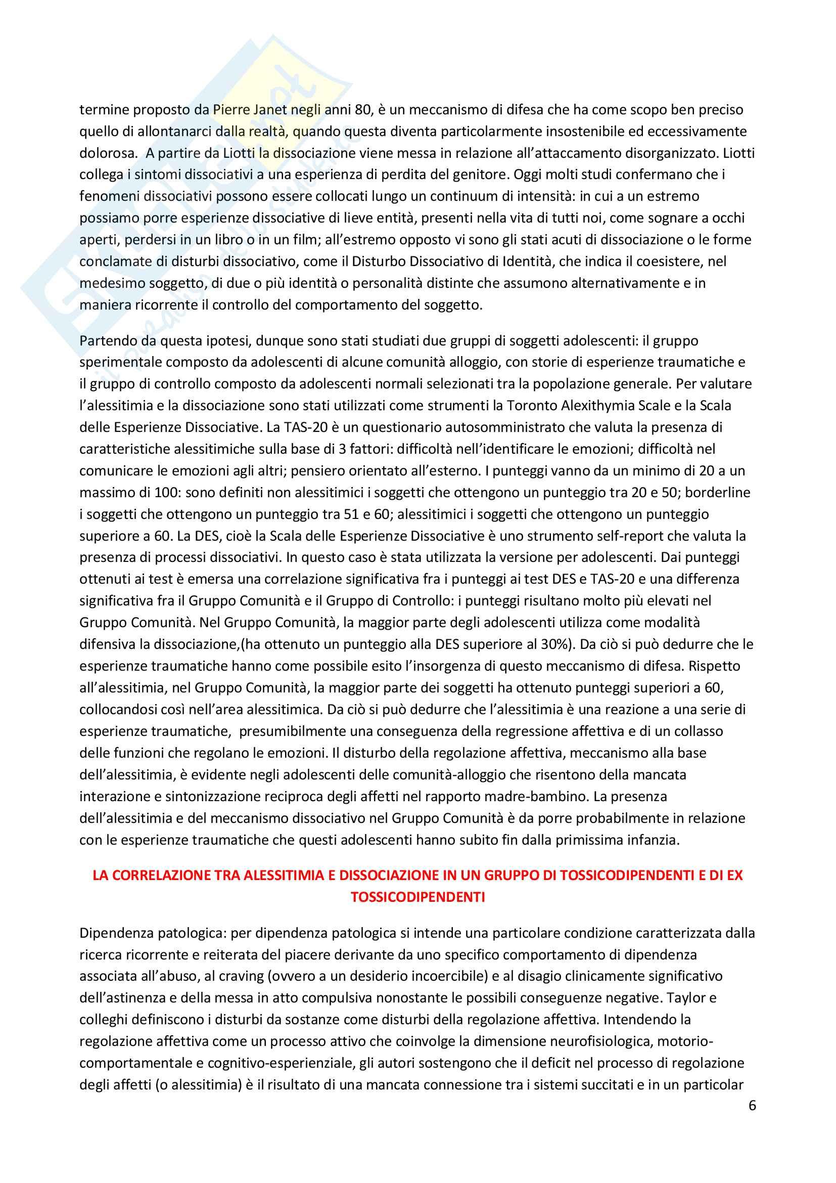 Riassunto esame Psicosomatica con elementi di psicologia della salute, prof. Epifanio, libro consigliato Alessitimia. Valutazione e trattamento, Caretti & La Barbera Pag. 6