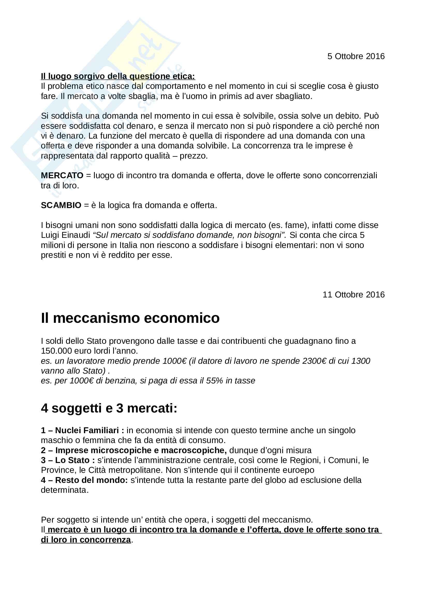 Appunti Etica ed economia