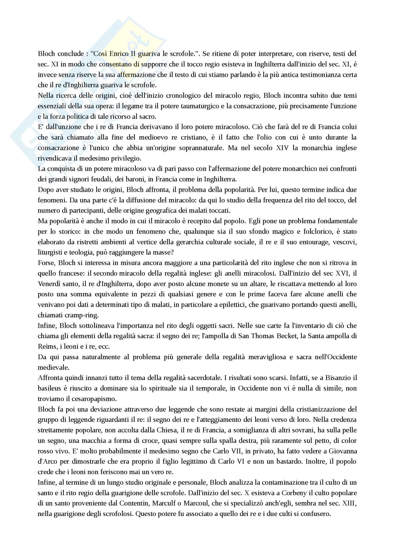 Riassunto esame Antichità e istituzioni medievali, prof. Covini, libro consigliato: I re taumaturghi di Marc Bloch Pag. 2
