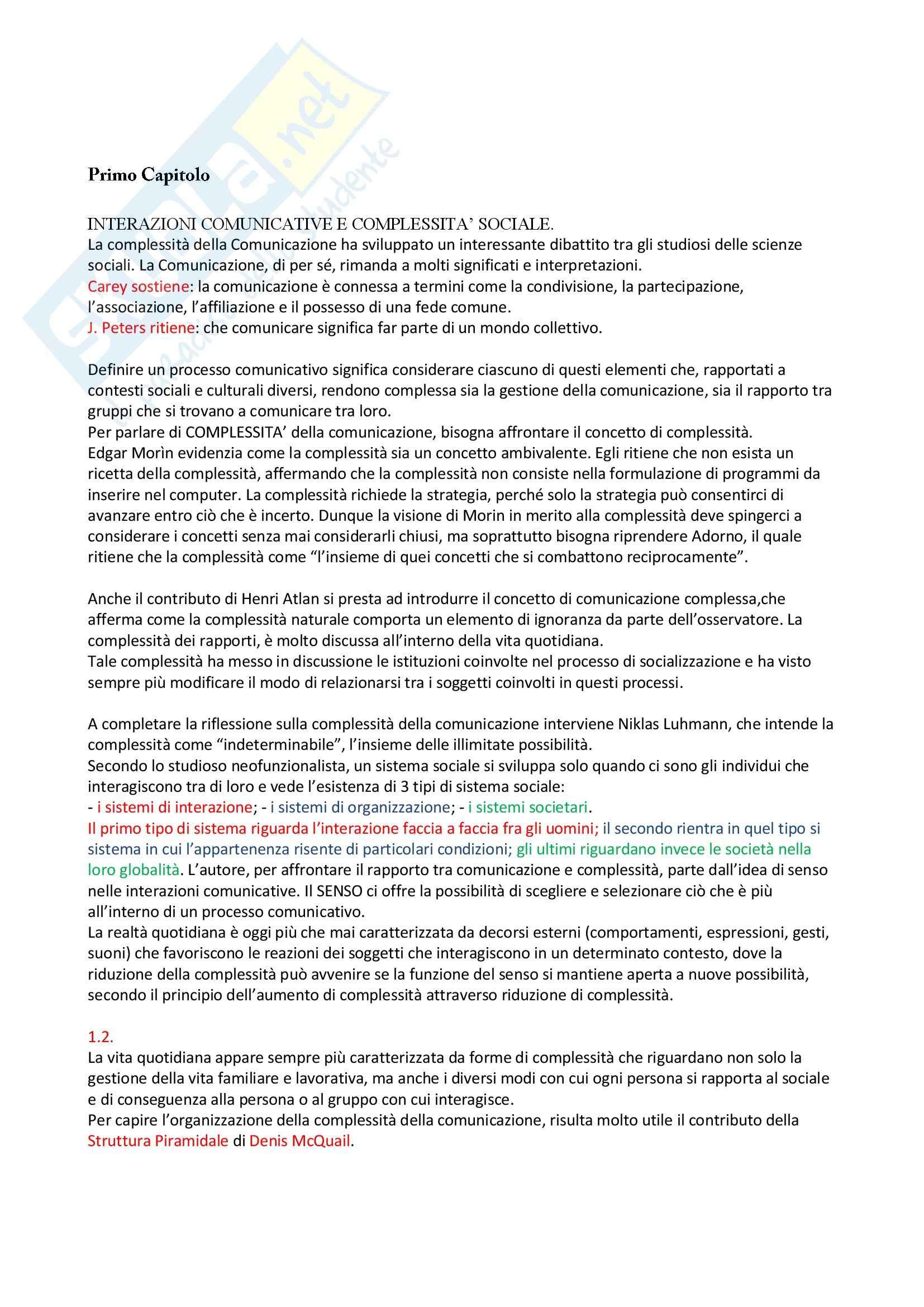 Riassunto esame Sociologia della comunicazione, prof. Centorrino, libro consigliato Società, relazione e nuove tecnologie, Romeo