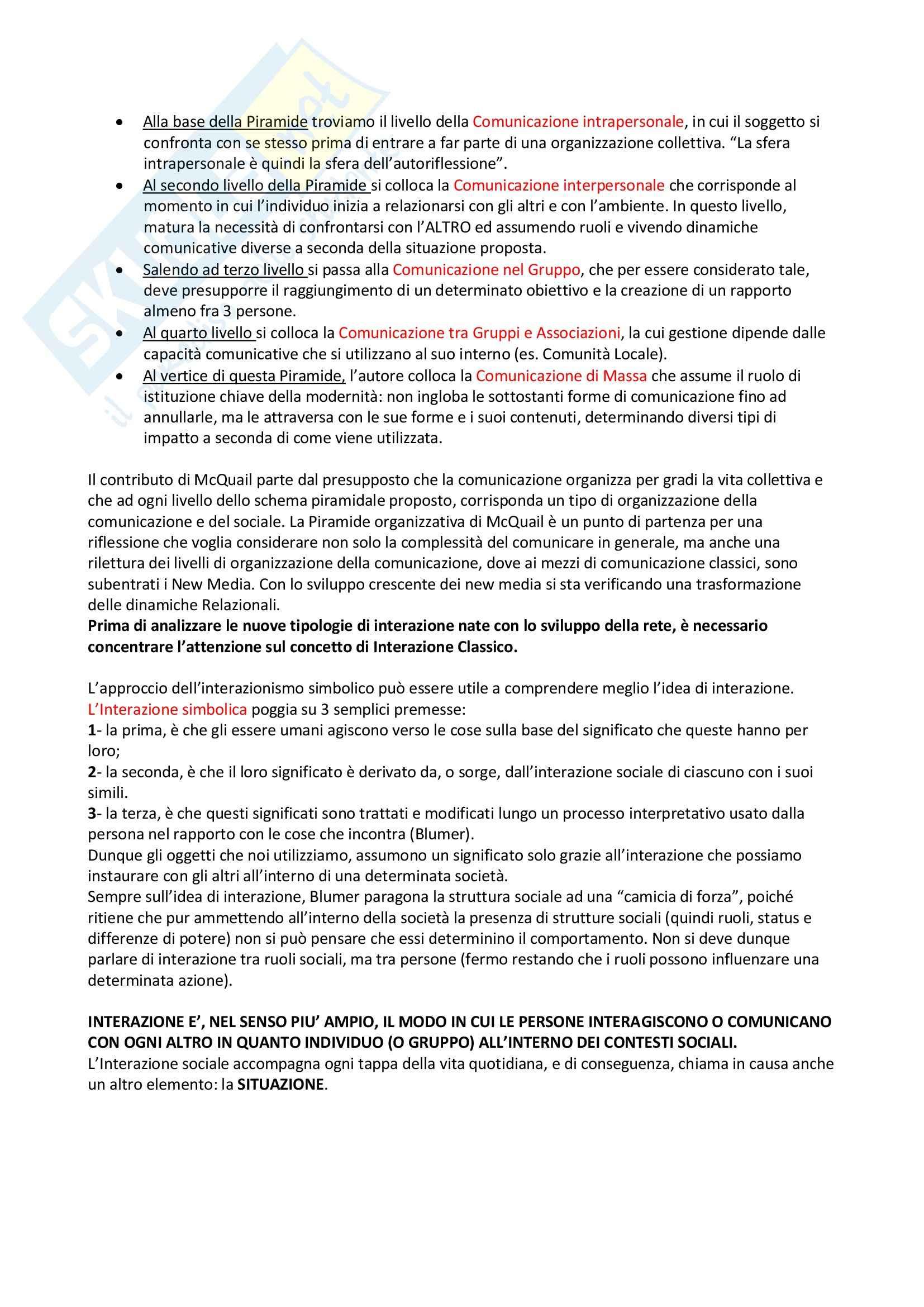 Riassunto esame Sociologia della comunicazione, prof. Centorrino, libro consigliato Società, relazione e nuove tecnologie, Romeo Pag. 2