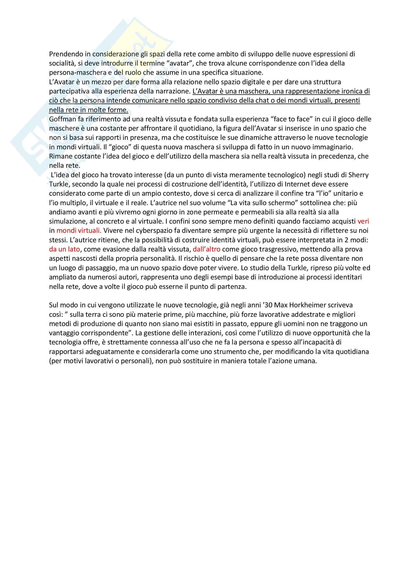 Riassunto esame Sociologia della comunicazione, prof. Centorrino, libro consigliato Società, relazione e nuove tecnologie, Romeo Pag. 6