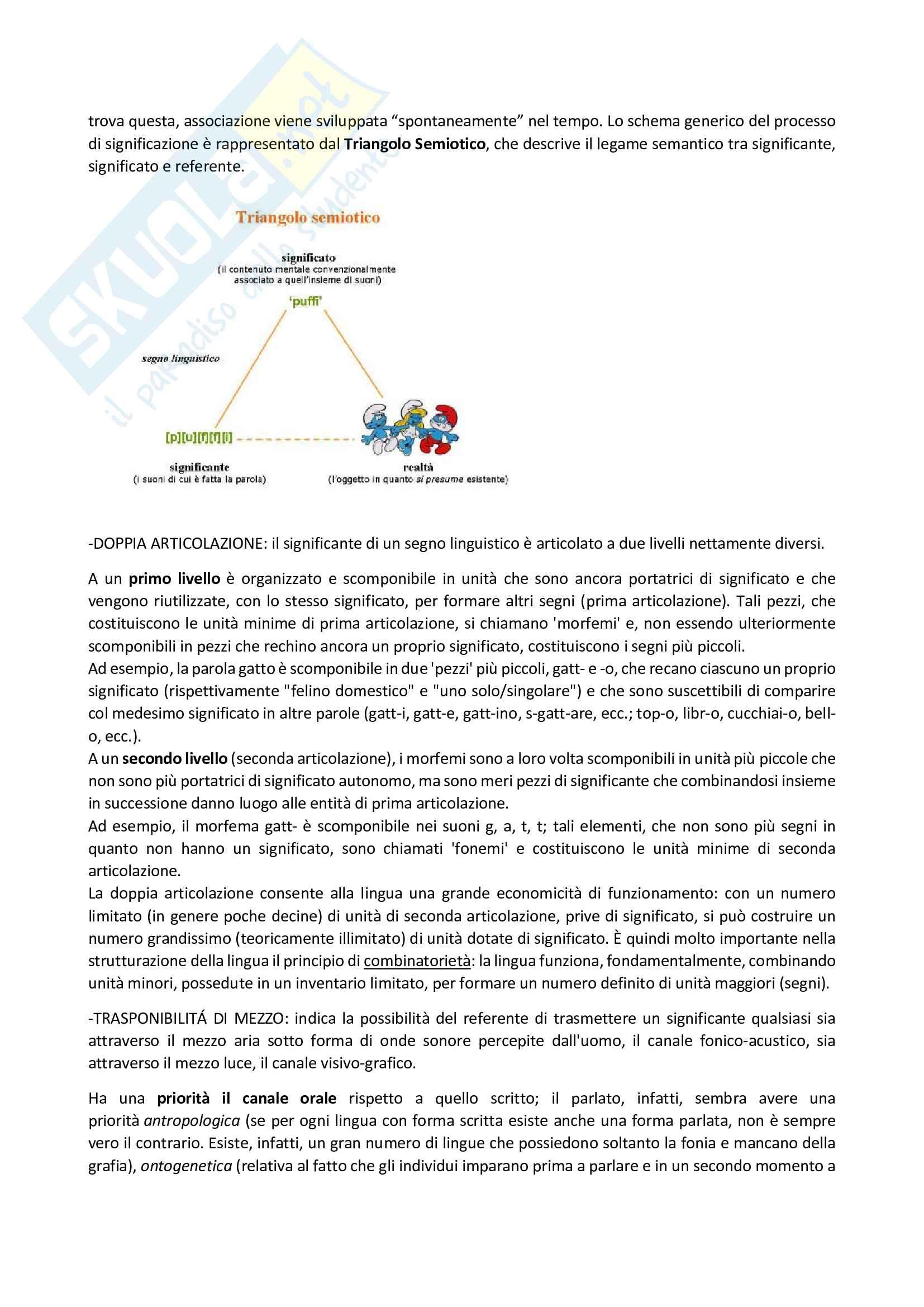 Appunti di fondamenti di linguistica e glottologia Pag. 2