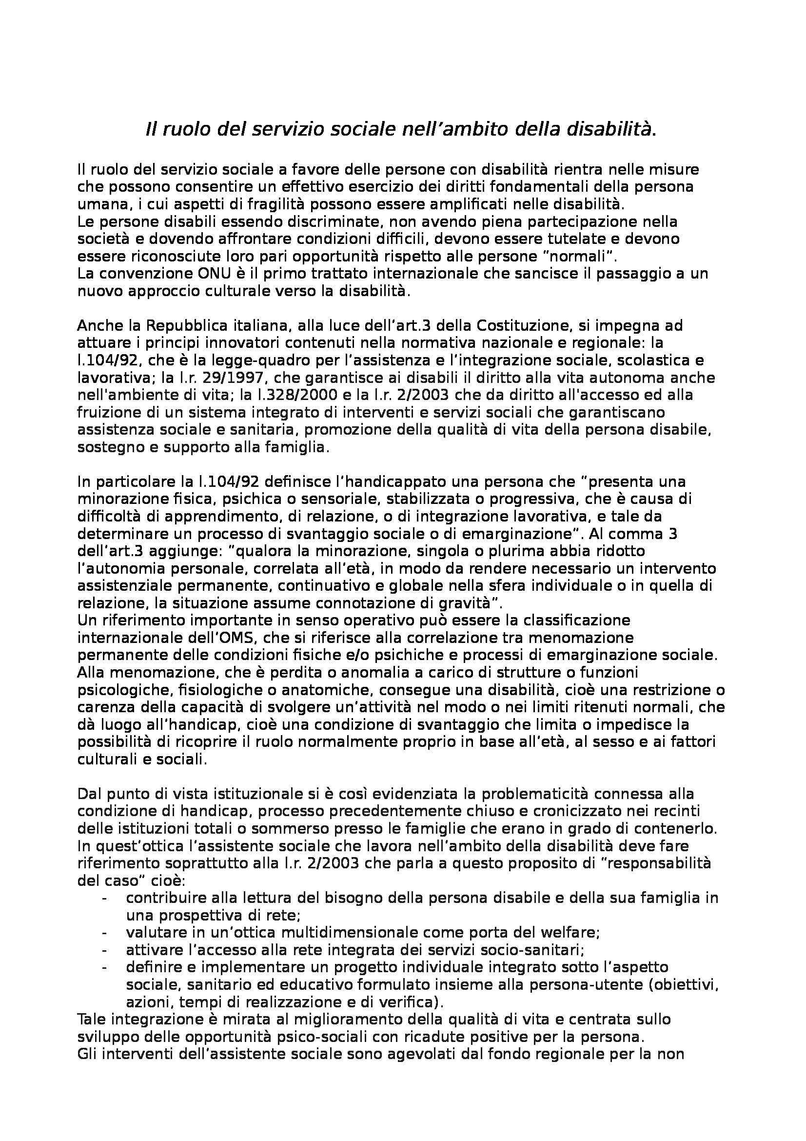 Principi e fondamenti del servizio sociale - relazione sulla disabilità