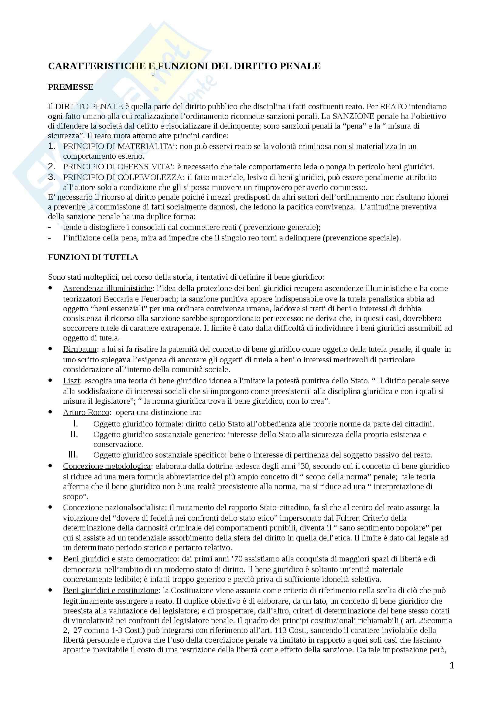 Riassunto esame Diritto penale, prof. Preziosi, libro consigliato Diritto penale. Parte generale, Fiandaca, Musco