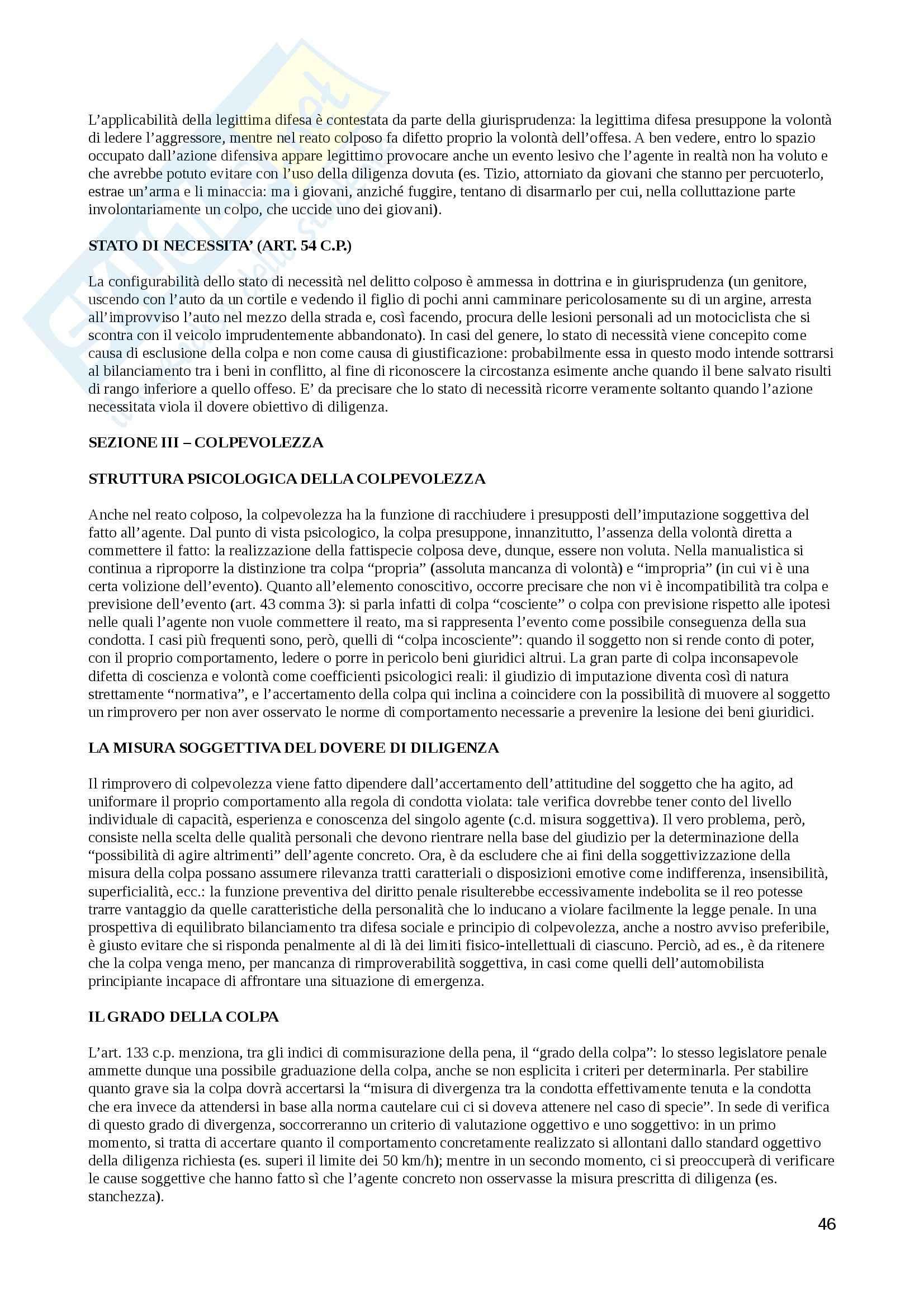 Riassunto esame Diritto penale, prof. Preziosi, libro consigliato Diritto penale. Parte generale, Fiandaca, Musco Pag. 46