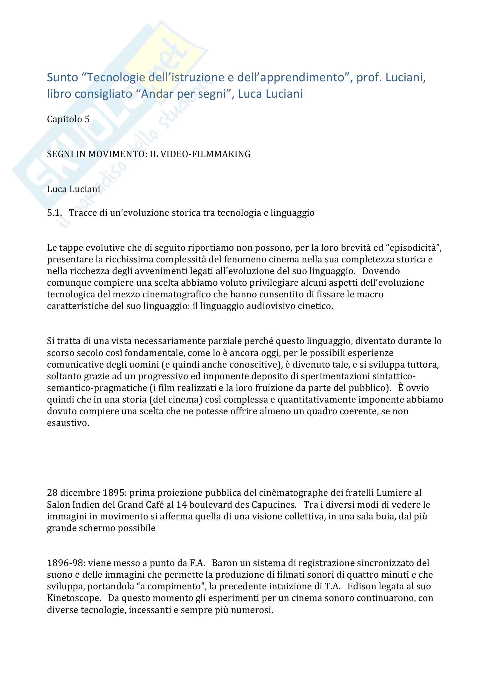 """Riassunto esame """"Tecnologie dell'istruzione e dell'apprendimento"""", prof. Luciani, libro consigliato """"Andar per segni"""", Luca Luciani"""