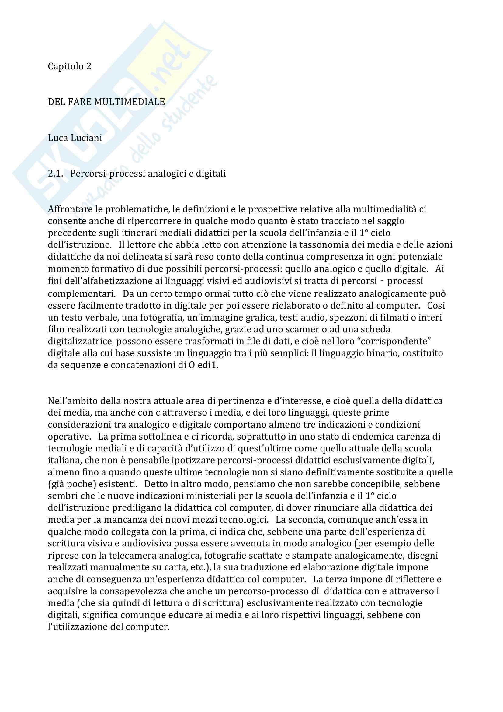 """Riassunto esame """"Tecnologie dell'istruzione e dell'apprendimento"""", prof. Luciani, libro consigliato """"Andar per segni"""", Luca Luciani Pag. 36"""