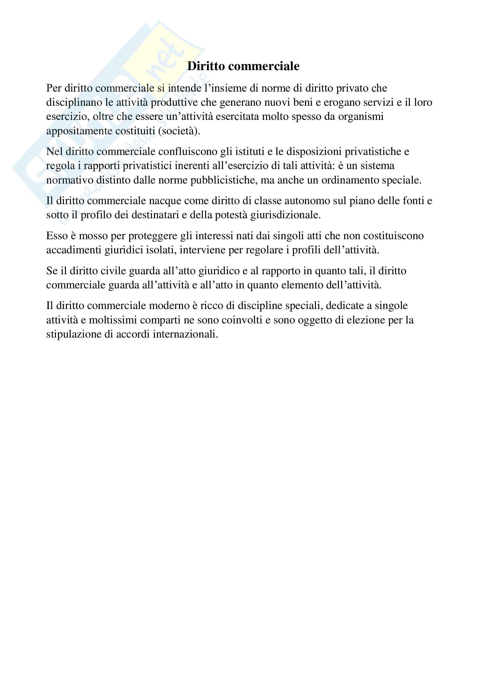 Riassunto esame diritto commerciale, prof. Santagata, libro consigliato Manuale di diritto commerciale, Cian