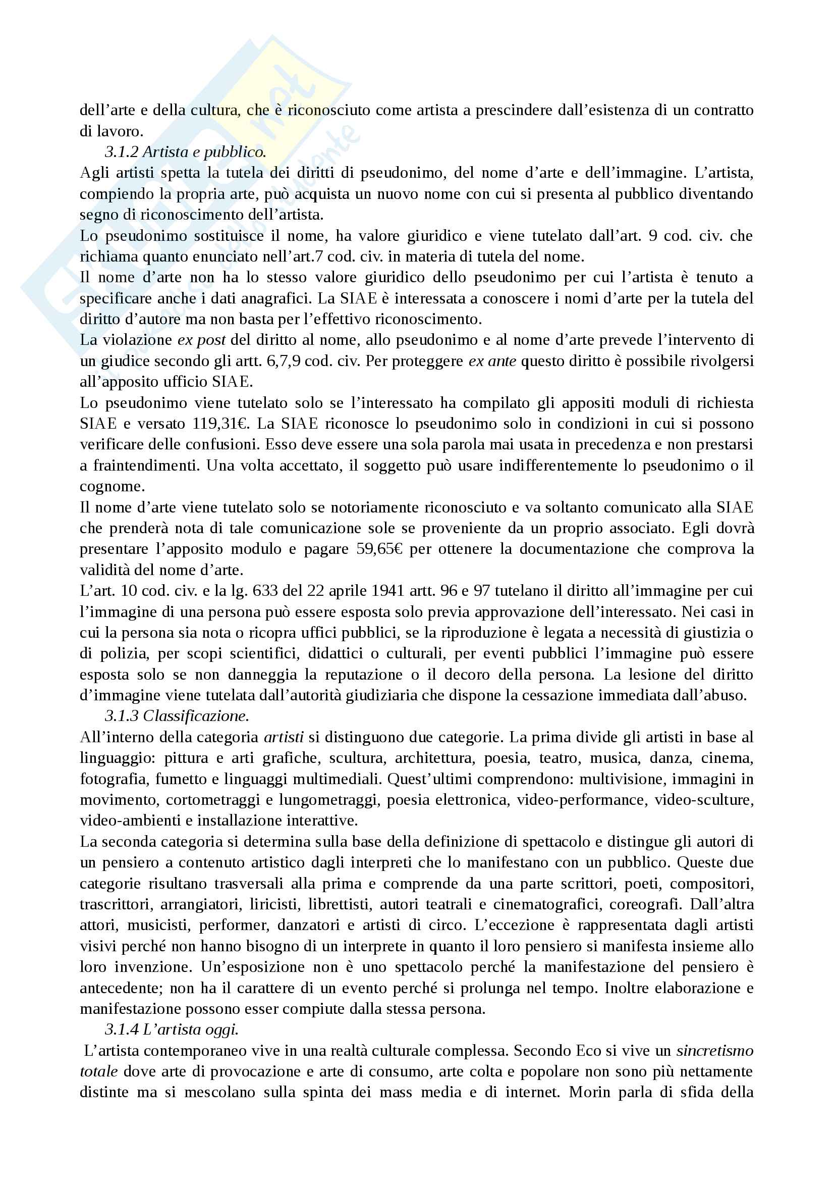 Riassunto esame diritto e legislazione dello spettacolo, prof. Giampiretti, libro consigliato Manuale di diritto delle arti e dello spettacolo, Dell'Anversana Pag. 11