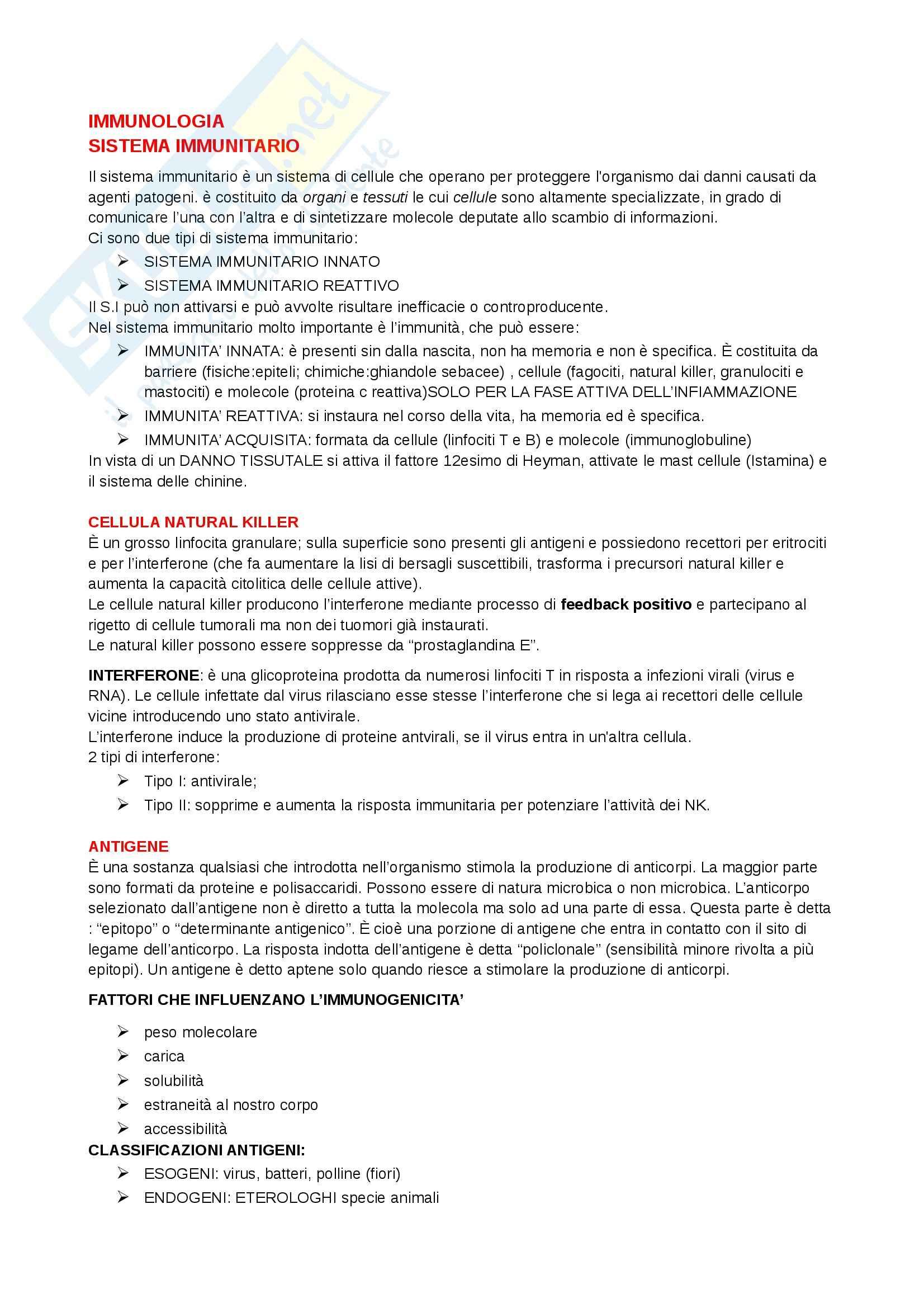 Patologia generale e fisiopatologia - immunologia