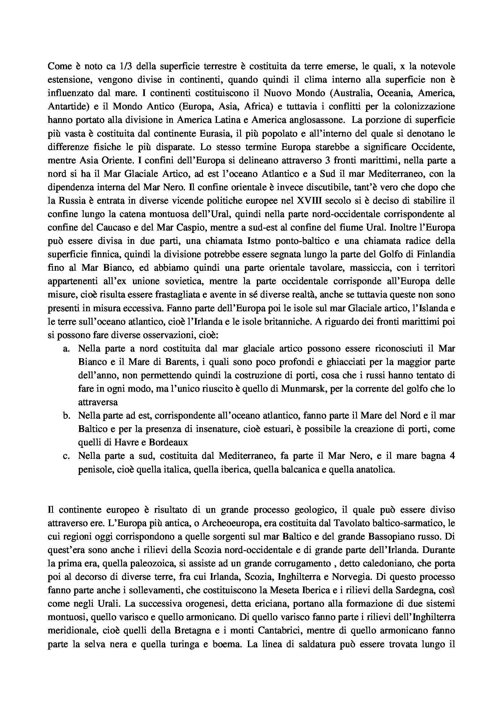 Riassunto esame Geografia umana, prof. Rocca, libro consigliato Dall'Europa dei tableaux all'Europa delle regioni e delle reti