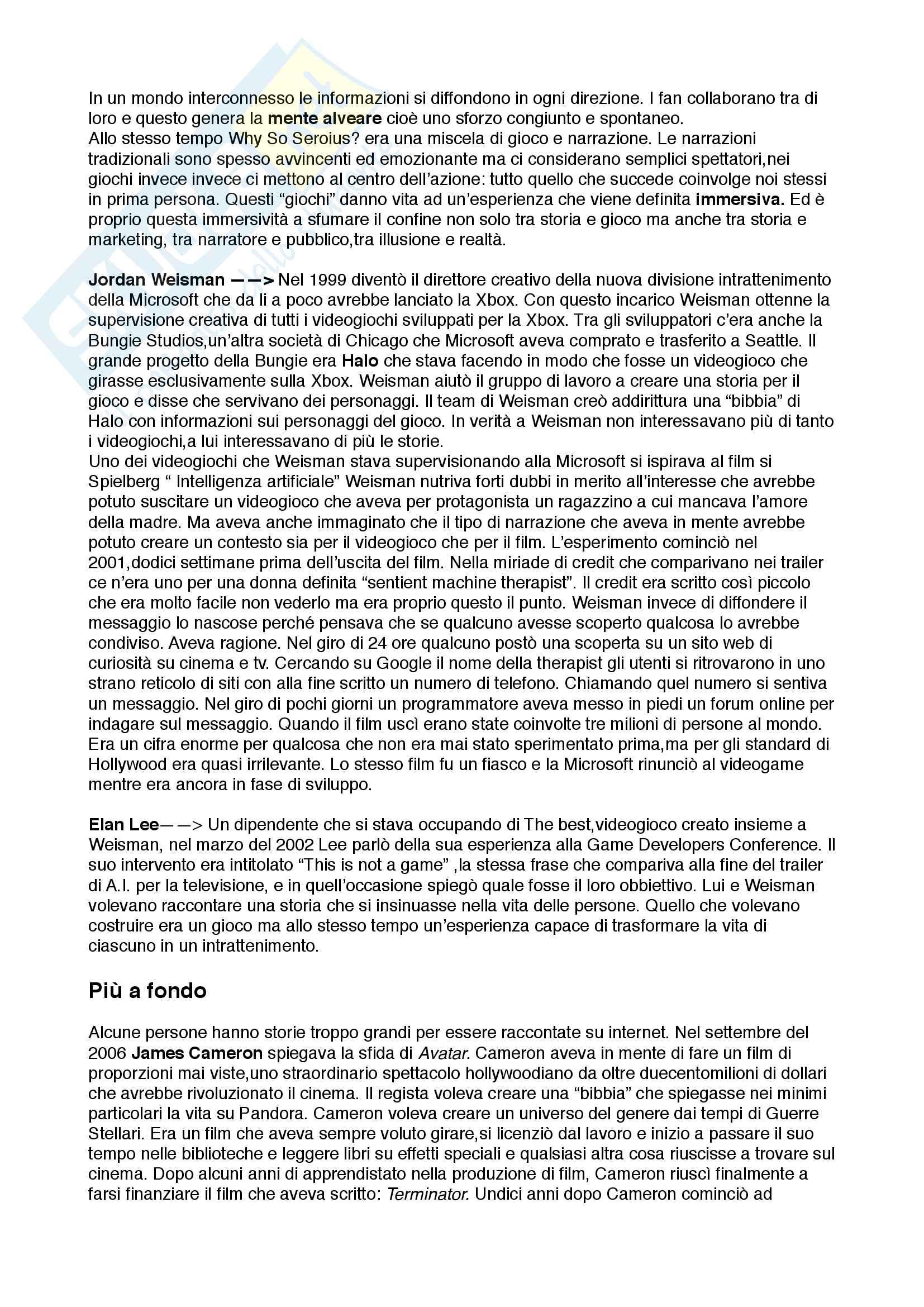 Riassunto esame Comunicazione multimediale, prof. Pireddu, libro consigliato Immersi nelle storie, Rose Pag. 2