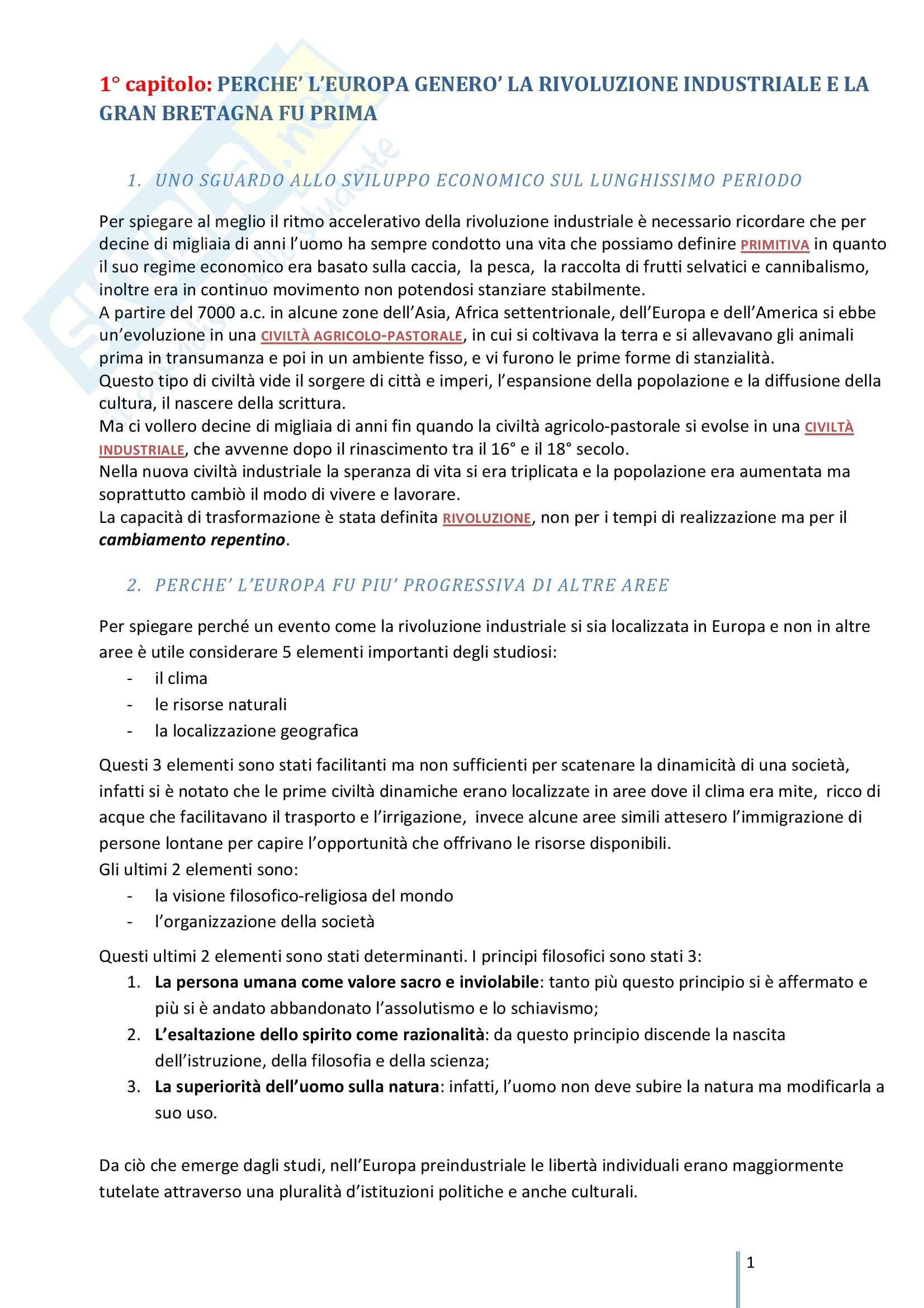 Riassunto esame Storia Economica, prof. Negri, libro consigliato Storia economica, Zamagni