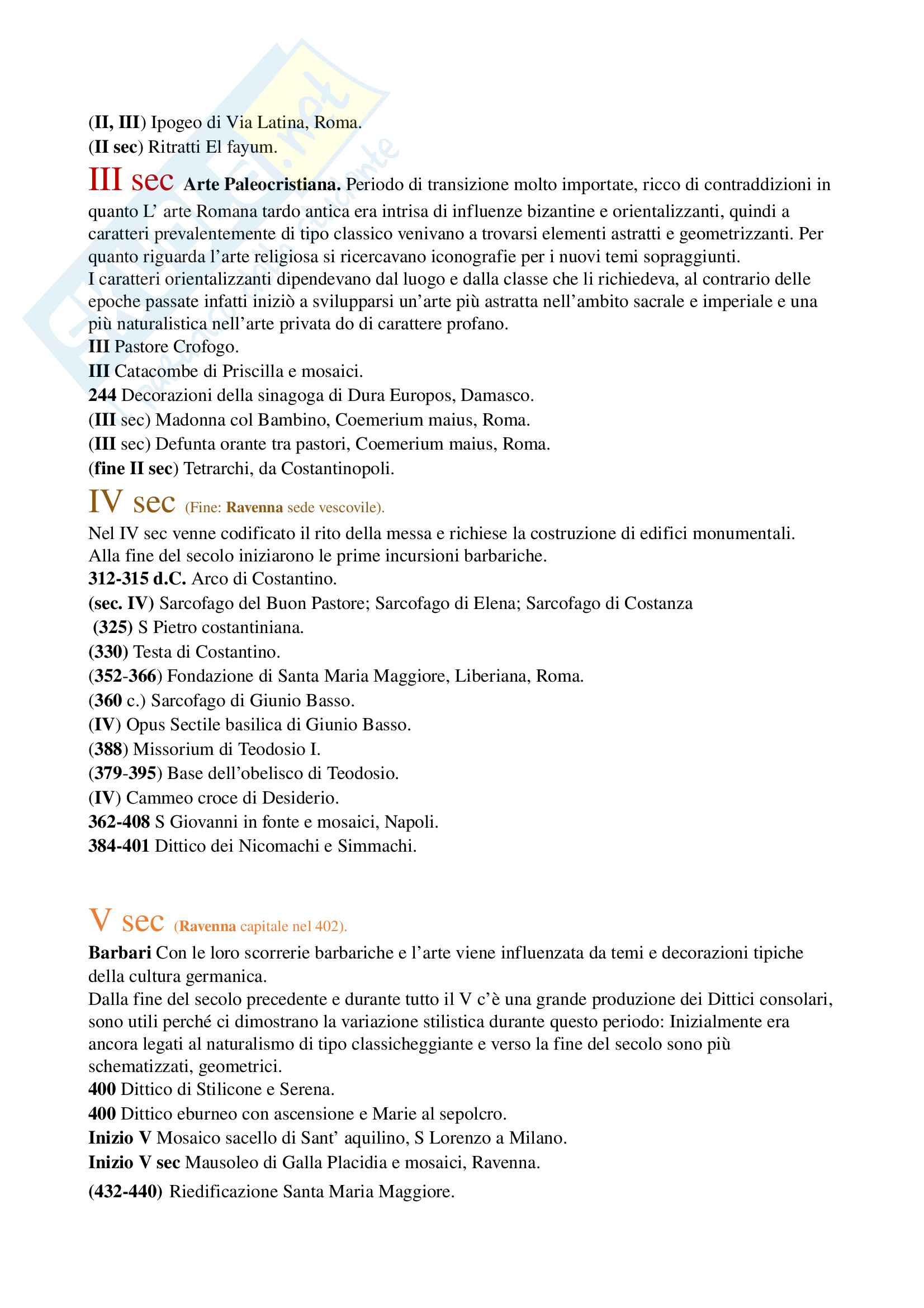Sintesi cronologica esame di storia dell' arte medievale. Prof. Andrea De Marchi
