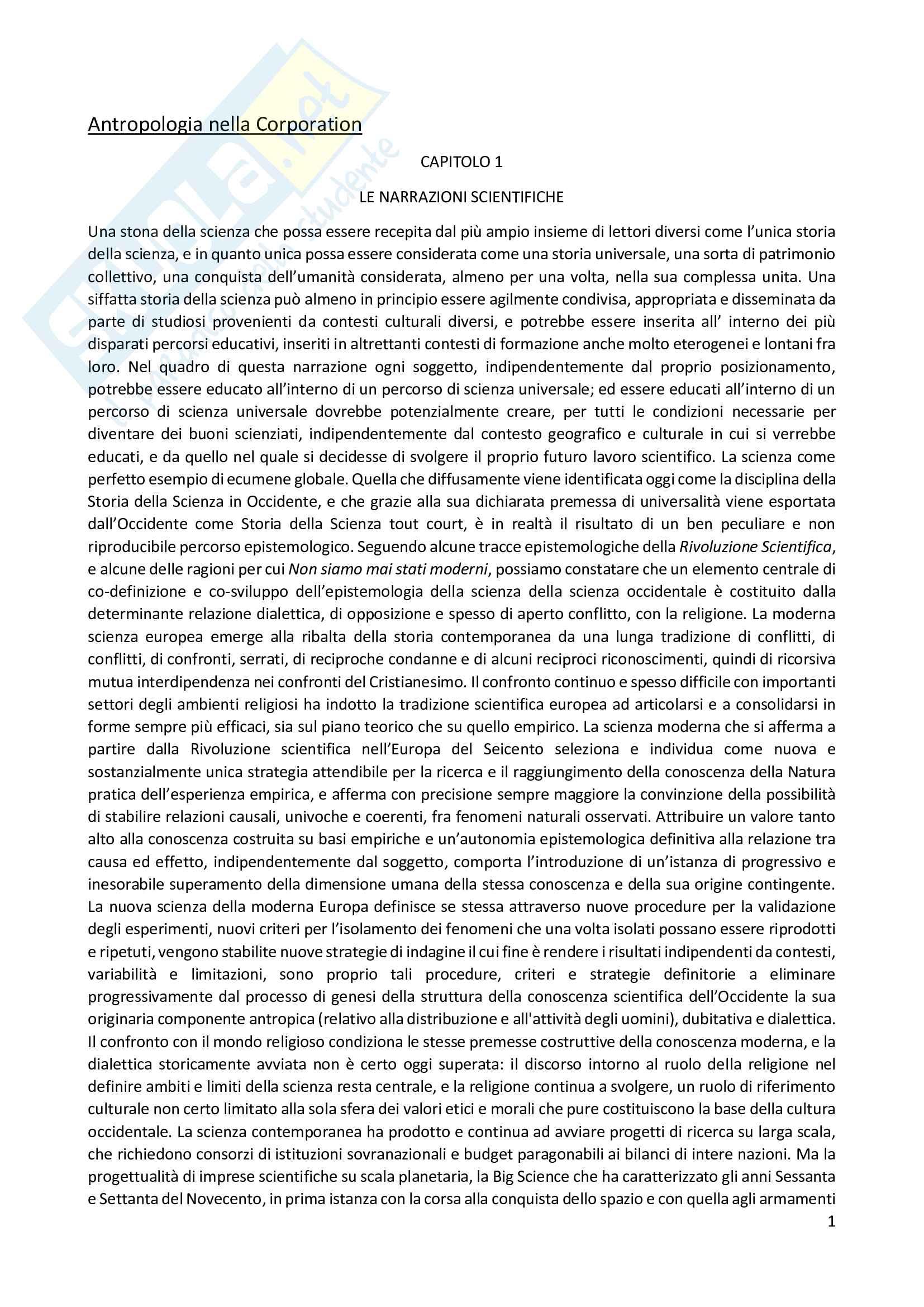 Riassunto esame antropologia culturale, prof. Bougleux, libro consigliato Antropologia nella corporation