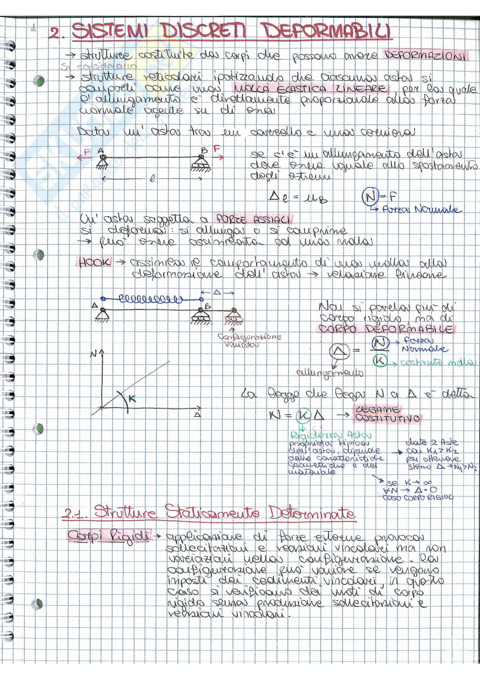 Riassunto esame Scienza delle costruzioni, prof. Vestroni,  libro consigliato  Casini, Vasta: parte sistemi discreti deformabili