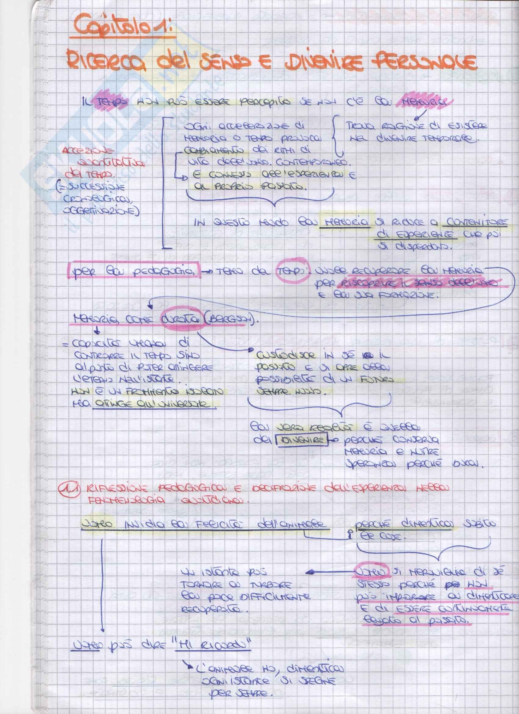 Riassunto esame Pedagogia della persona, prof. Amadini, libro consigliato Memoria ed educazione, Amadini