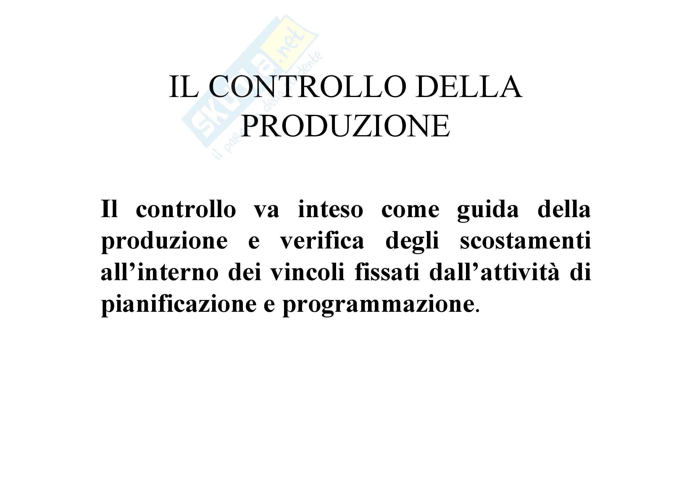 Tecnologia dei cicli produttivi - controllo della produzione