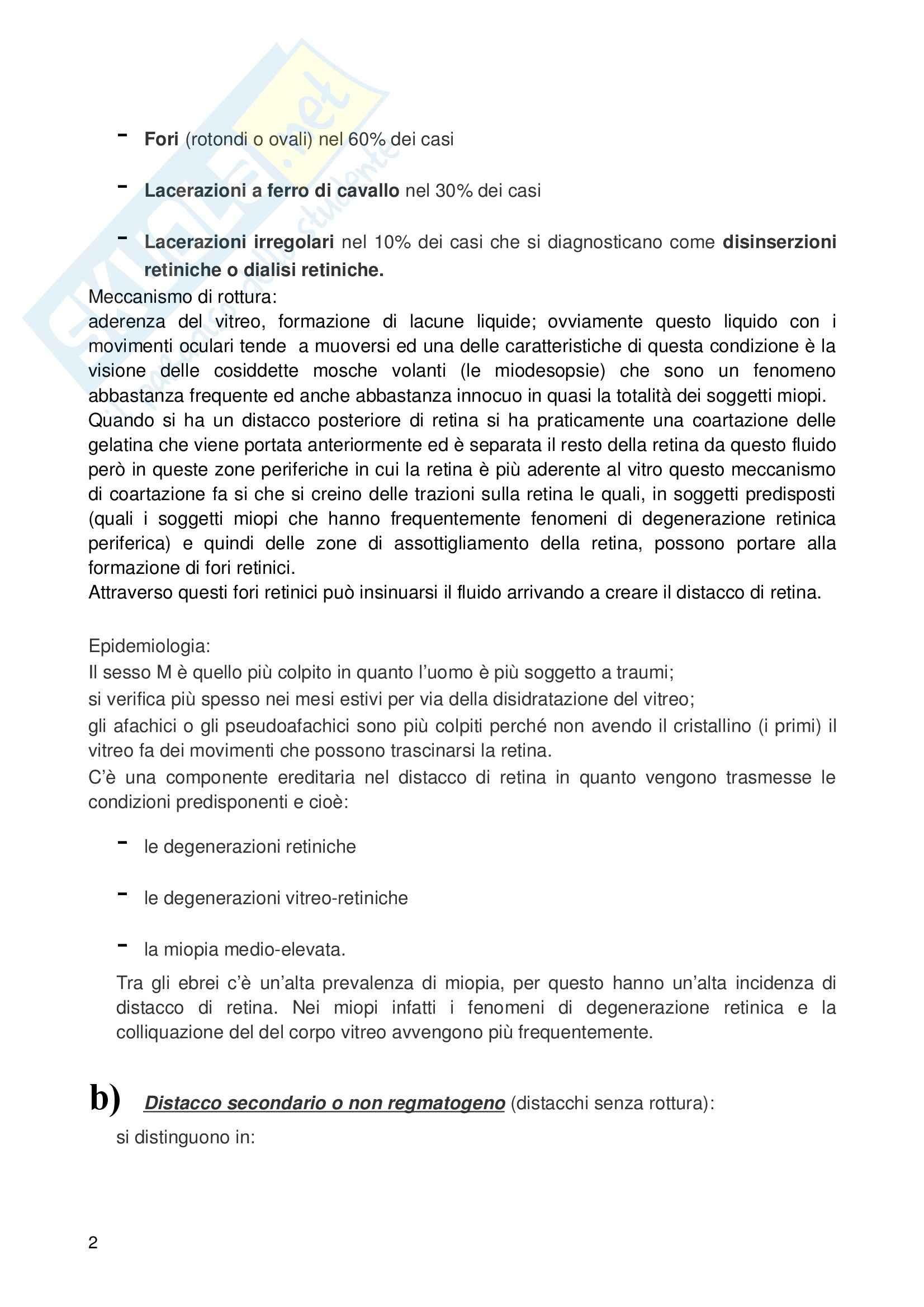 Oftalmologia – Distacco retina Pag. 2