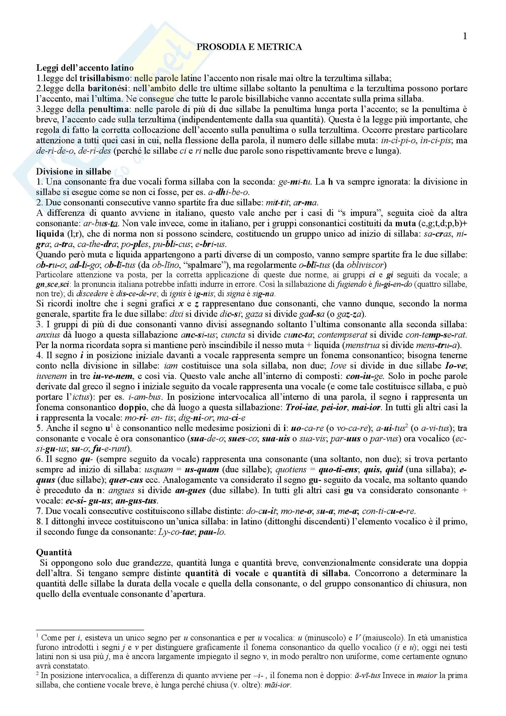 appunti di prosodia e metrica latina
