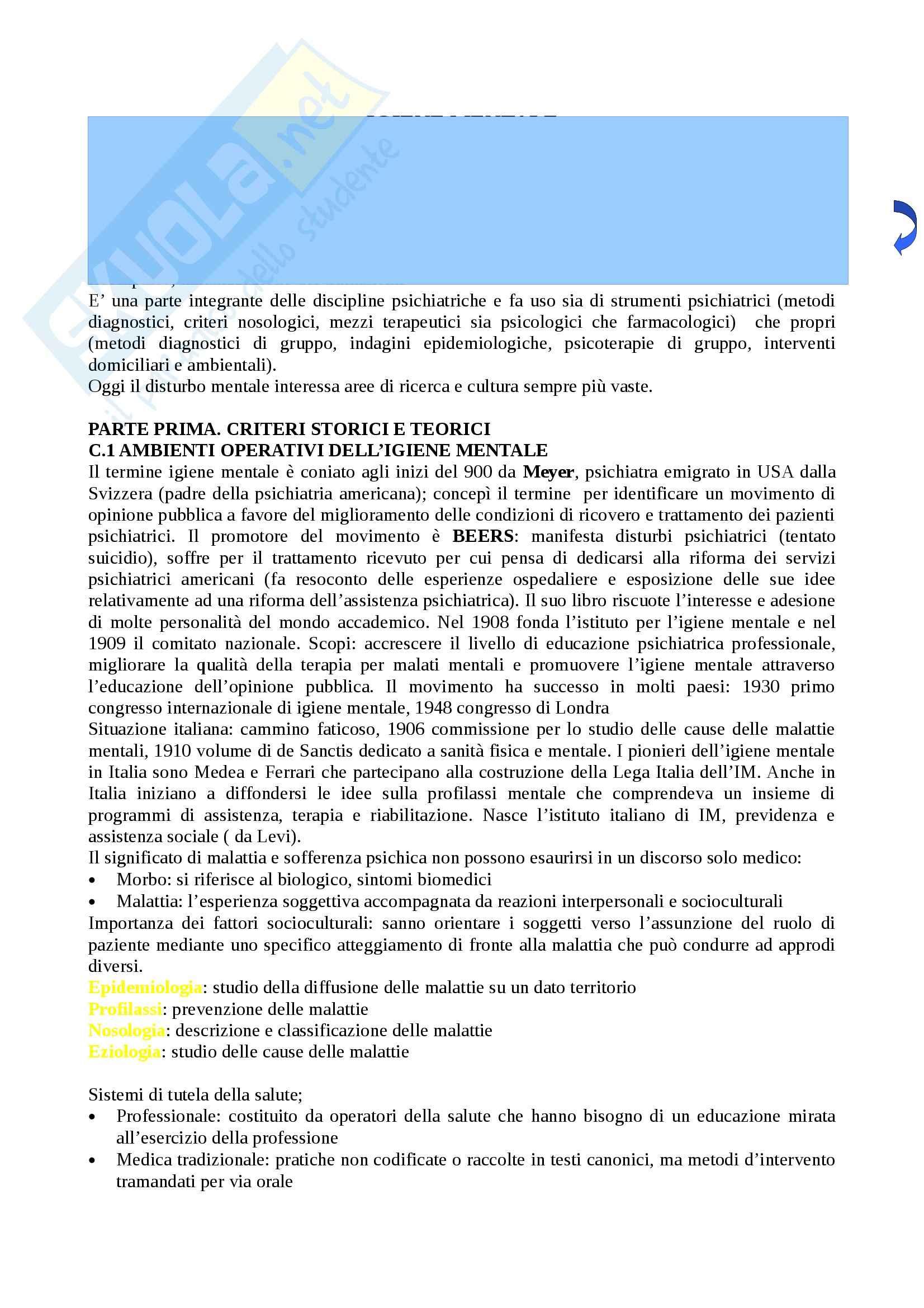 Riassunto esame Igiene, prof. Marocco, libro consigliato Igiene mentale, Rossi, Cartelli, Bucca