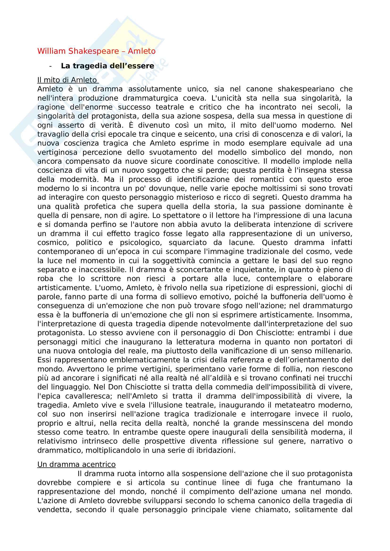 Riassunto esame Teatro, spettacolo, performance, prof. Guarino, libro consigliato Amleto, Shakespeare