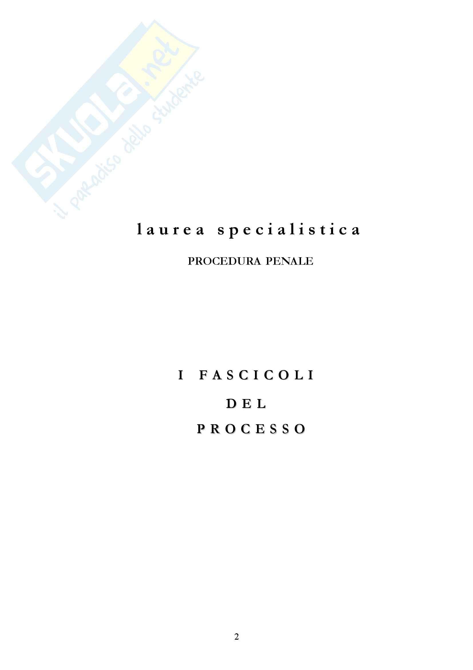 Diritto processuale penale - i fascicoli del processo penale