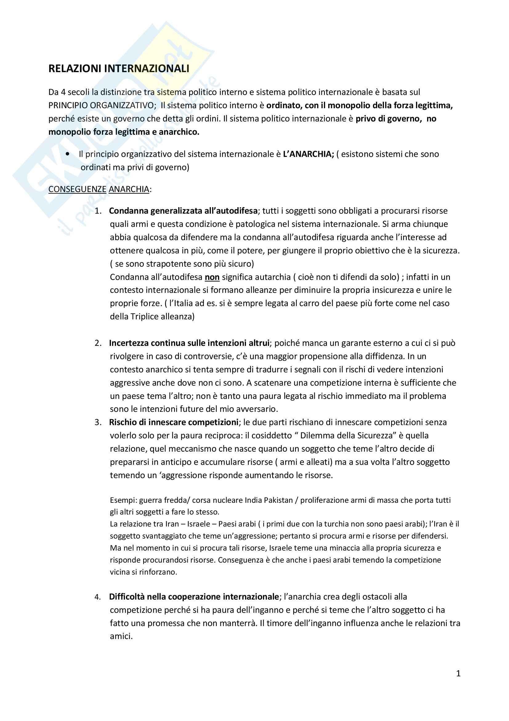 Storia delle relazioni internazionali - Appunti