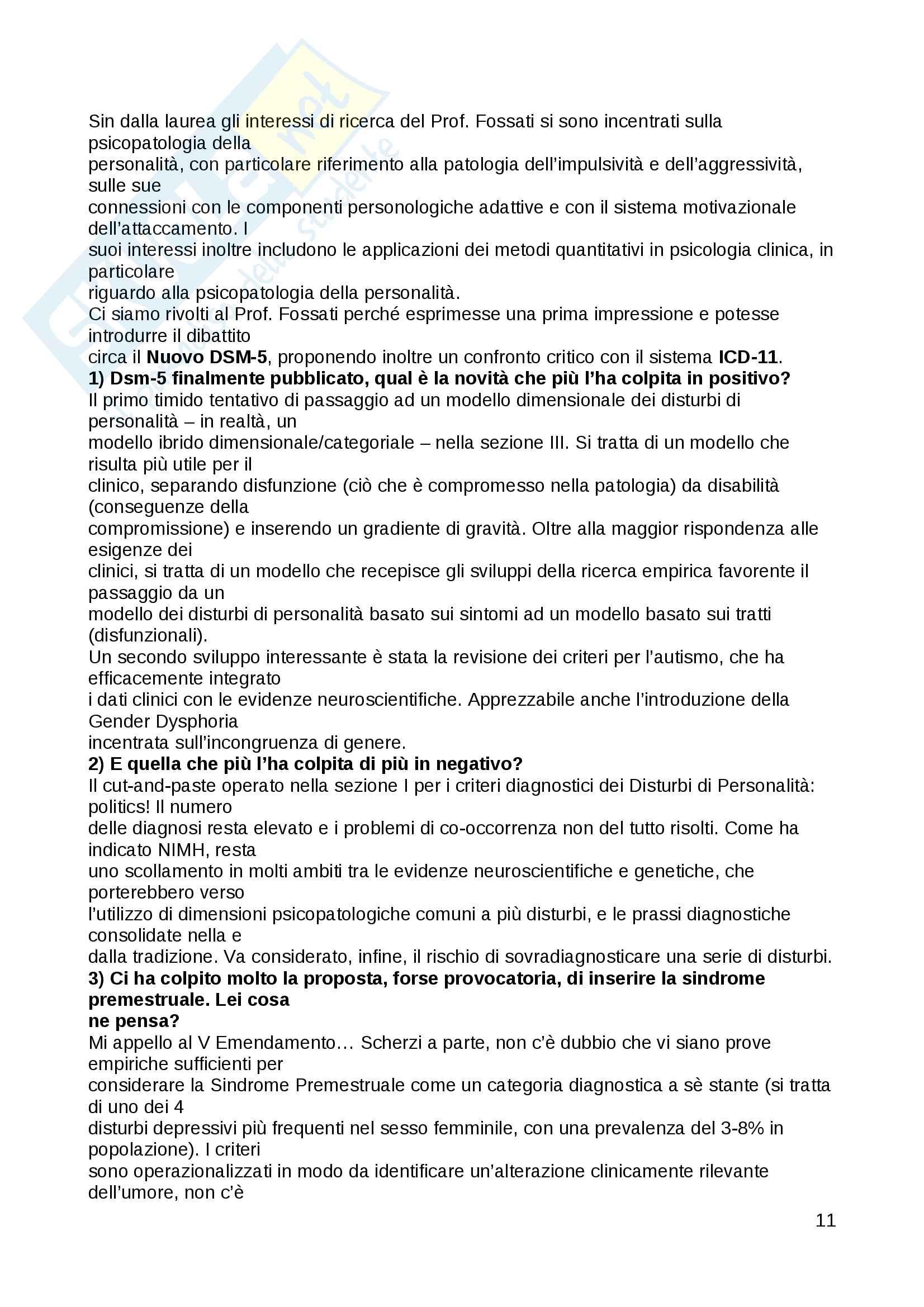 Riassunto esame Psicologia Clinica, Prof. Fossati, libro consigliato Le Psicoterapie, Gabbard Pag. 11