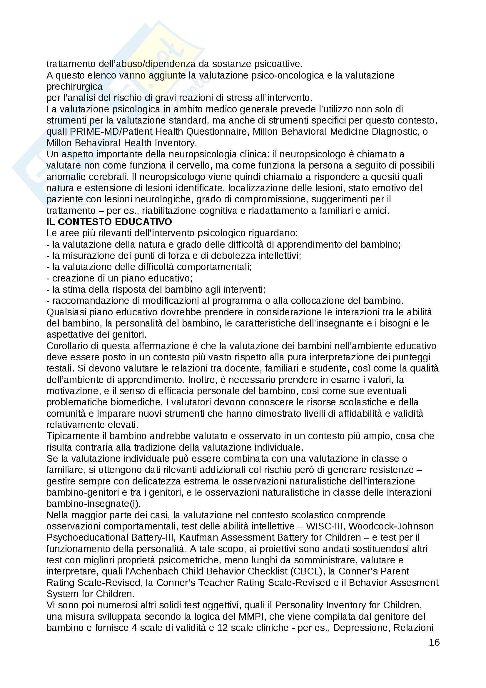 Riassunto esame Psicologia Clinica, Prof. Fossati, libro consigliato Le Psicoterapie, Gabbard Pag. 16