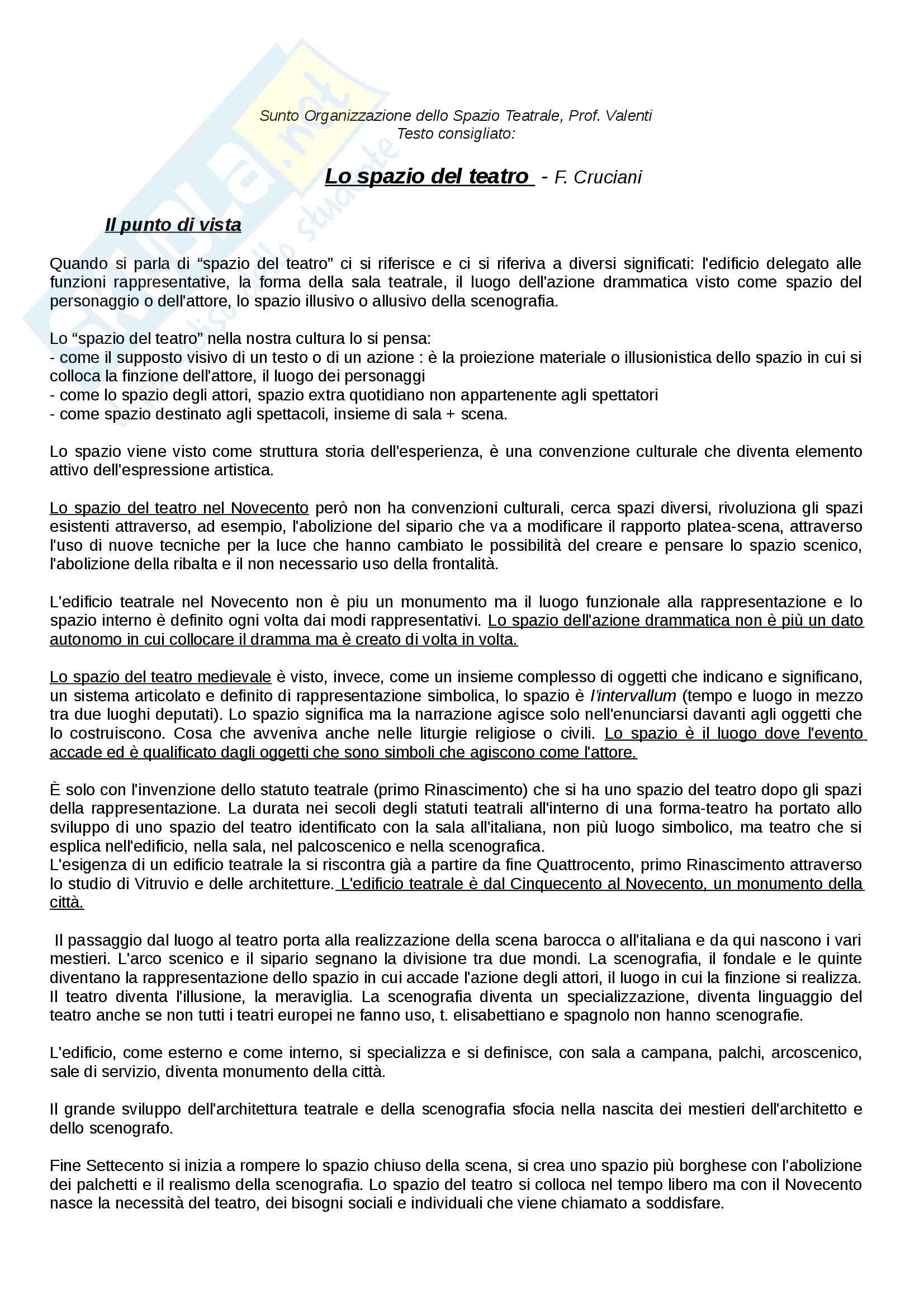 Riassunto esame Organizzazione dello Spazio teatrale, docente  Valenti, Libro consigliato Lo spazio del Teatro, Cruciani