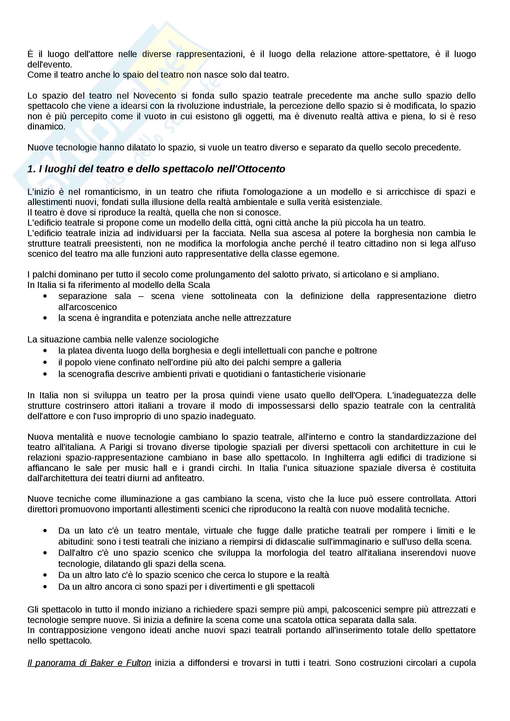 Riassunto esame Organizzazione dello Spazio teatrale, docente  Valenti, Libro consigliato Lo spazio del Teatro, Cruciani Pag. 16