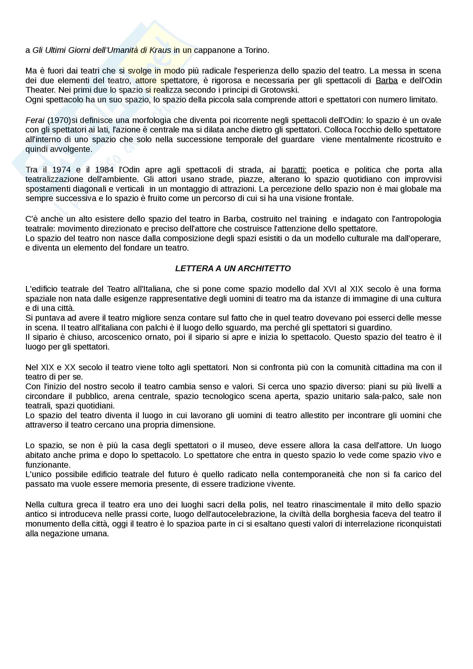 Riassunto esame Organizzazione dello Spazio teatrale, docente  Valenti, Libro consigliato Lo spazio del Teatro, Cruciani Pag. 31